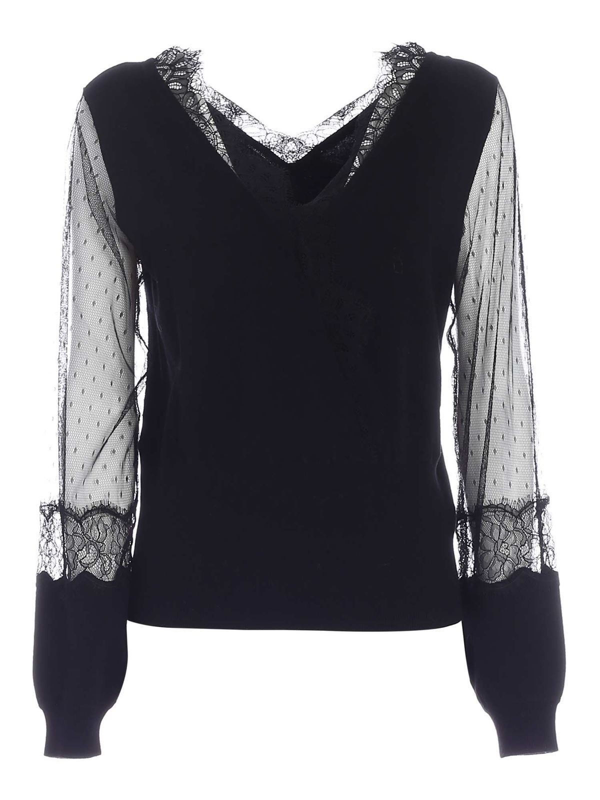 Twinset LACE PULLOVER IN BLACK