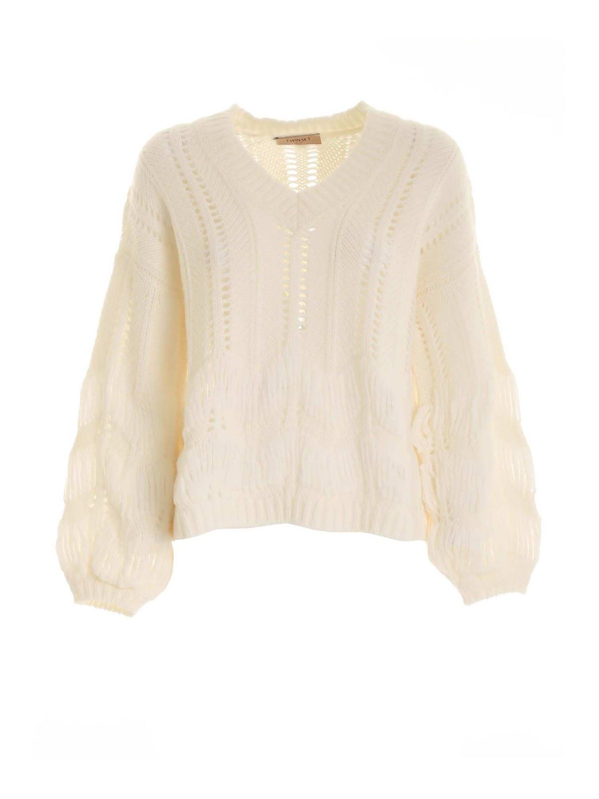 Twinset TRICOT-EFFECT PULLOVER IN CREAM COLOR