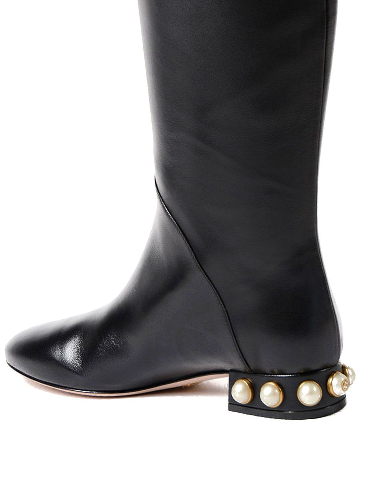 20b578fdc Gucci - Two-tone leather riding boots - boots - 474528BKO601086