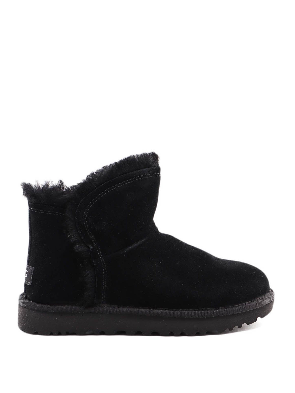 Classic Mini Fluff High Low Ankle Boot Black