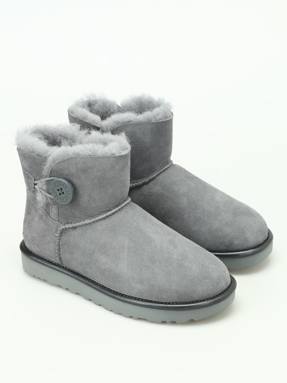5ff3eecb248 Ugg - Grey Mini Bailey Button II Metallic - ankle boots - 1019031WGYS