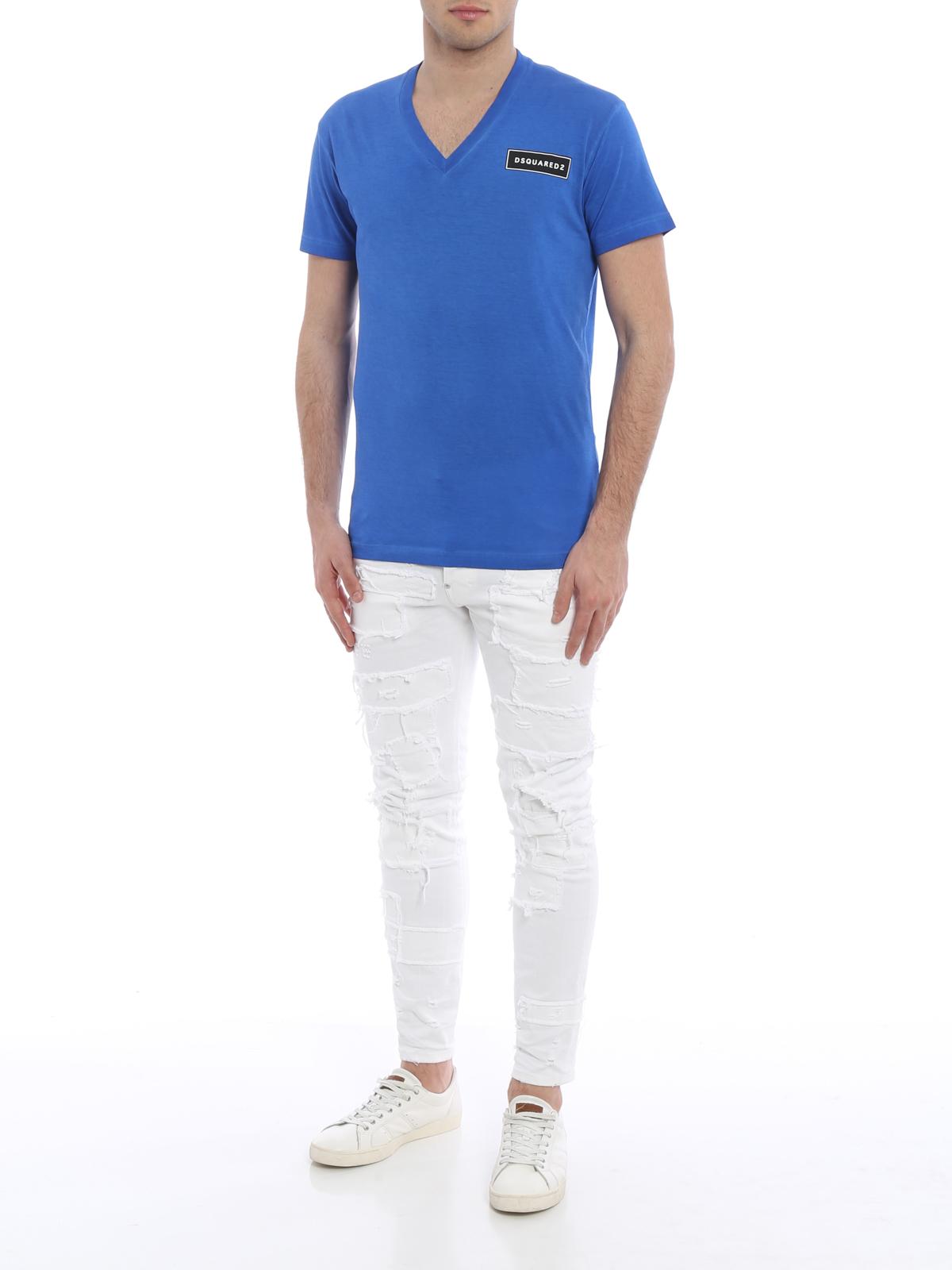 V neck cotton t shirt by dsquared2 t shirts ikrix for V neck t shirt online shopping