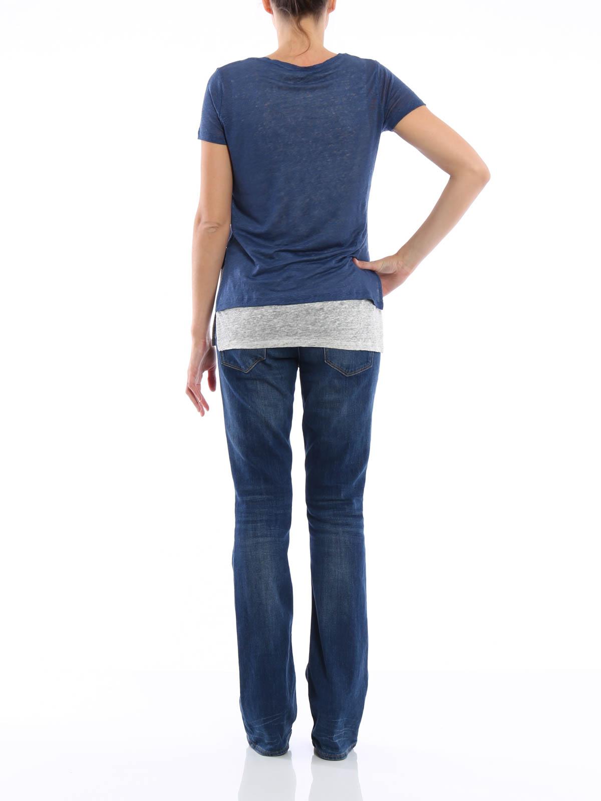V neck layered t shirt de majestic filatures t shirts for V neck t shirt online shopping