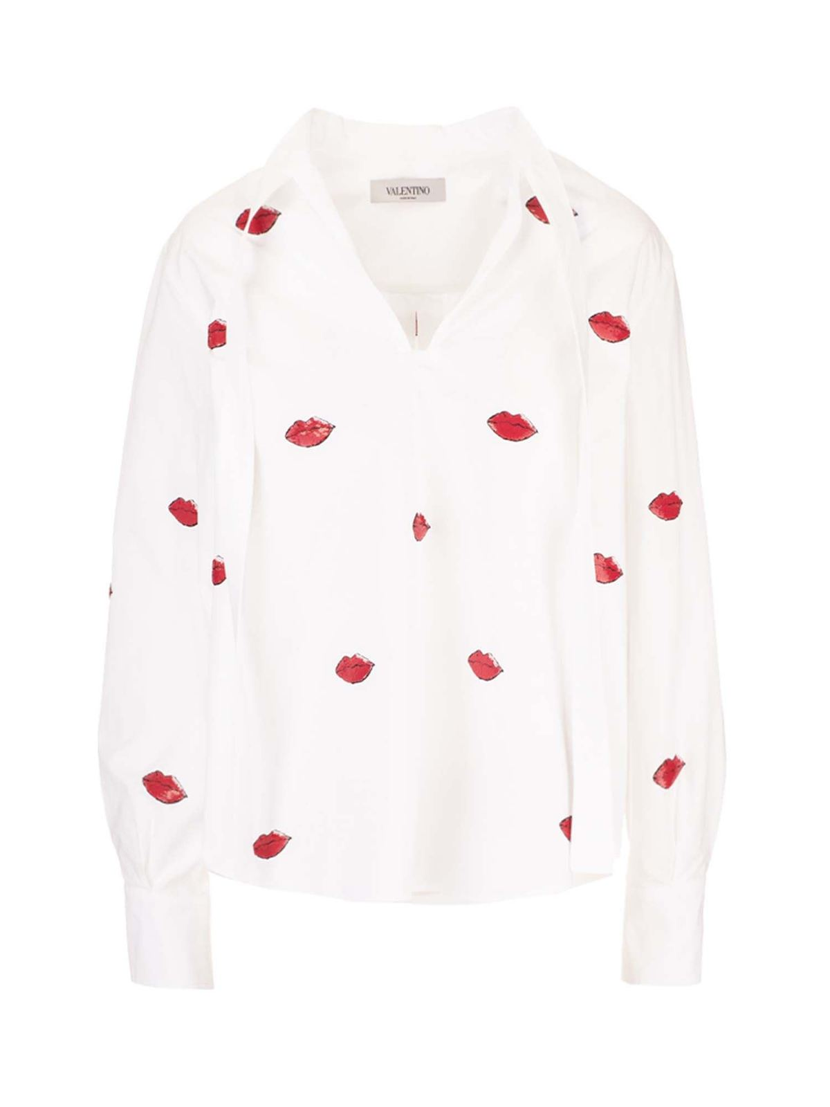 Valentino ROUGE EMBROIDERY BLOUSE IN WHITE