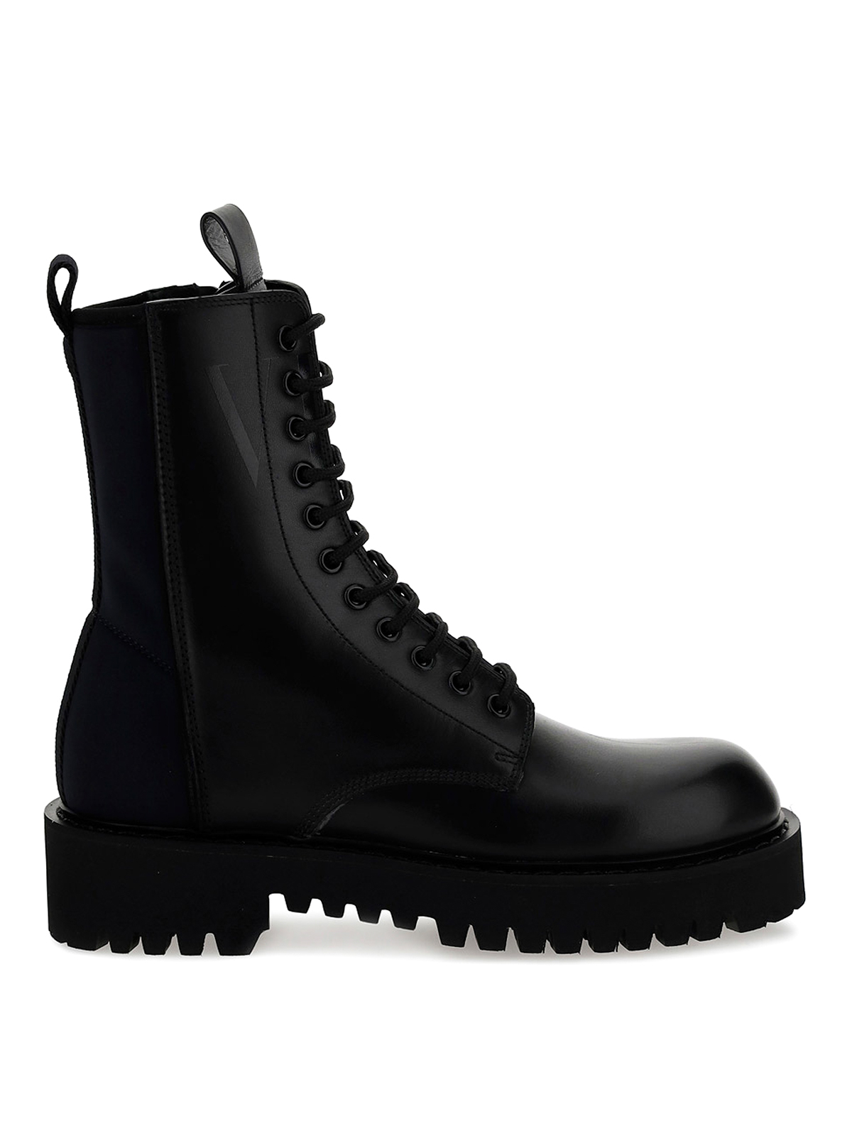 Valentino Leathers NEOPRENE AND LEATHER COMBAT BOOTS