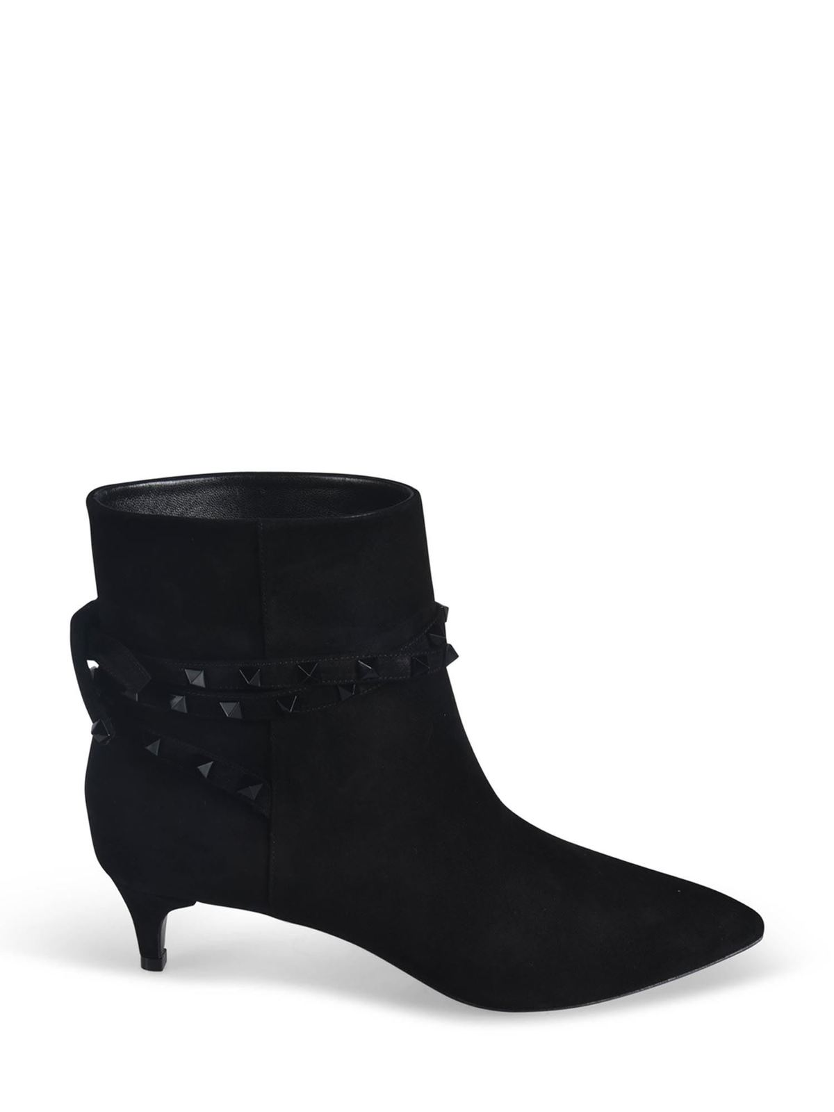 Valentino ROCKSTUD SUEDE ANKLE BOOTS IN BLACK