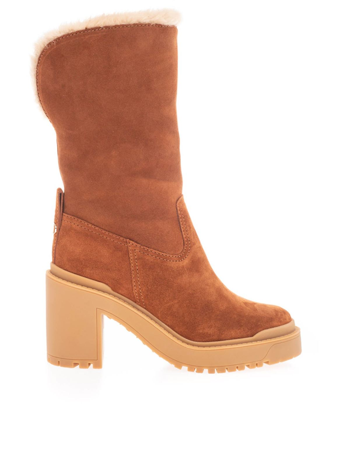 VALENTINO SHEEPSKIN ANKLE BOOTS IN BROWN