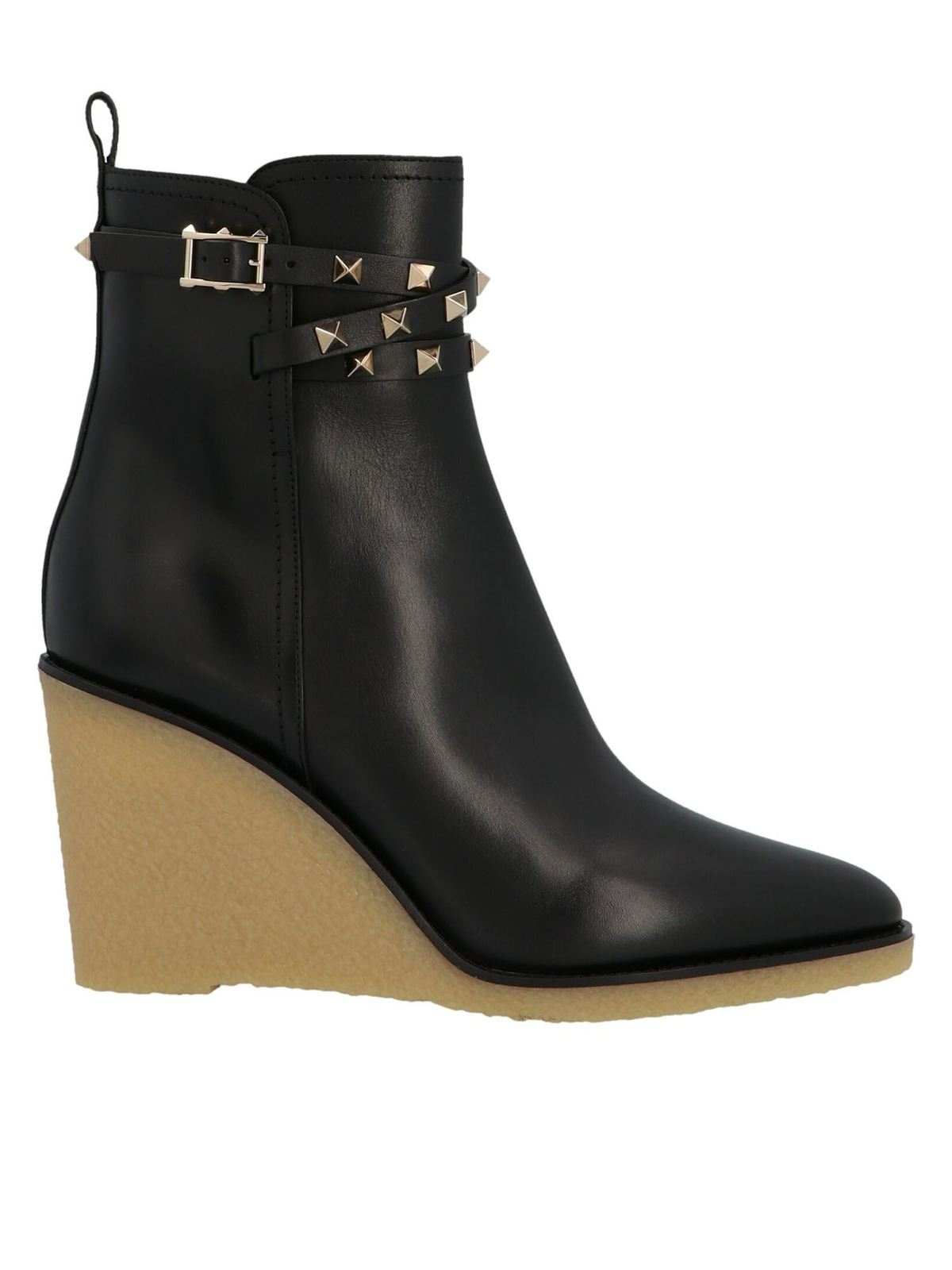 VALENTINO STUDS ANKLE BOOTS IN BLACK