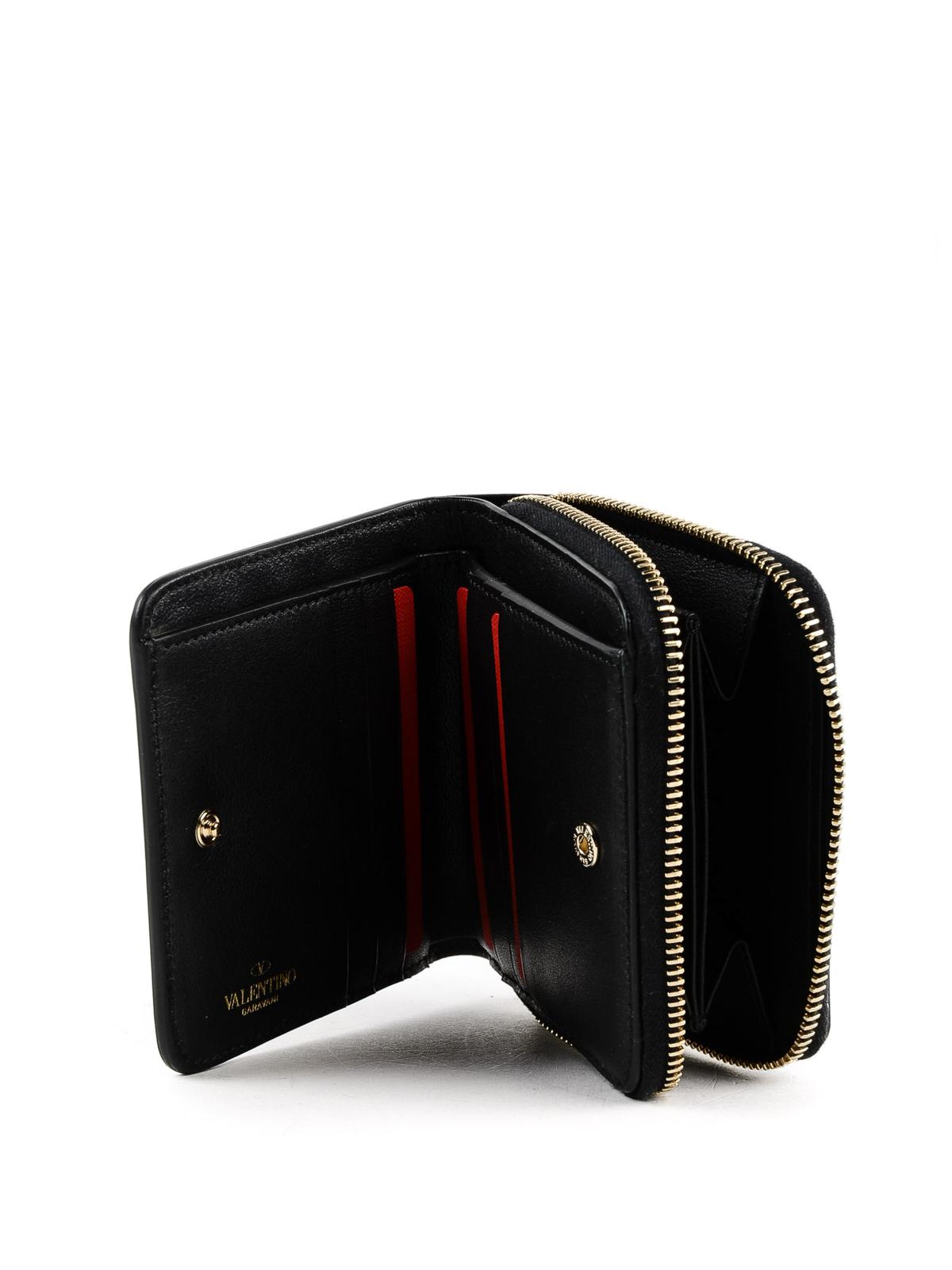 6d422e5803 VALENTINO GARAVANI buy online Piccolo portafoglio squadrato Rockstud nero