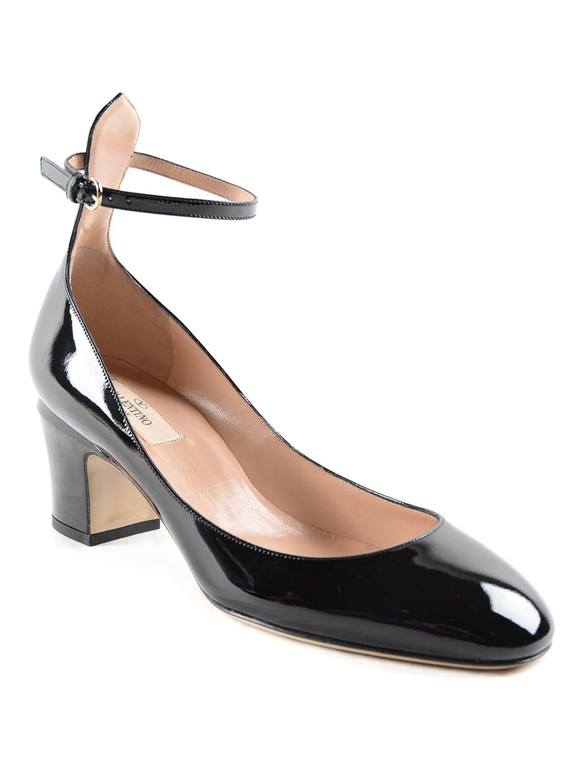 Black Leather Court Shoes With Ankle Strap
