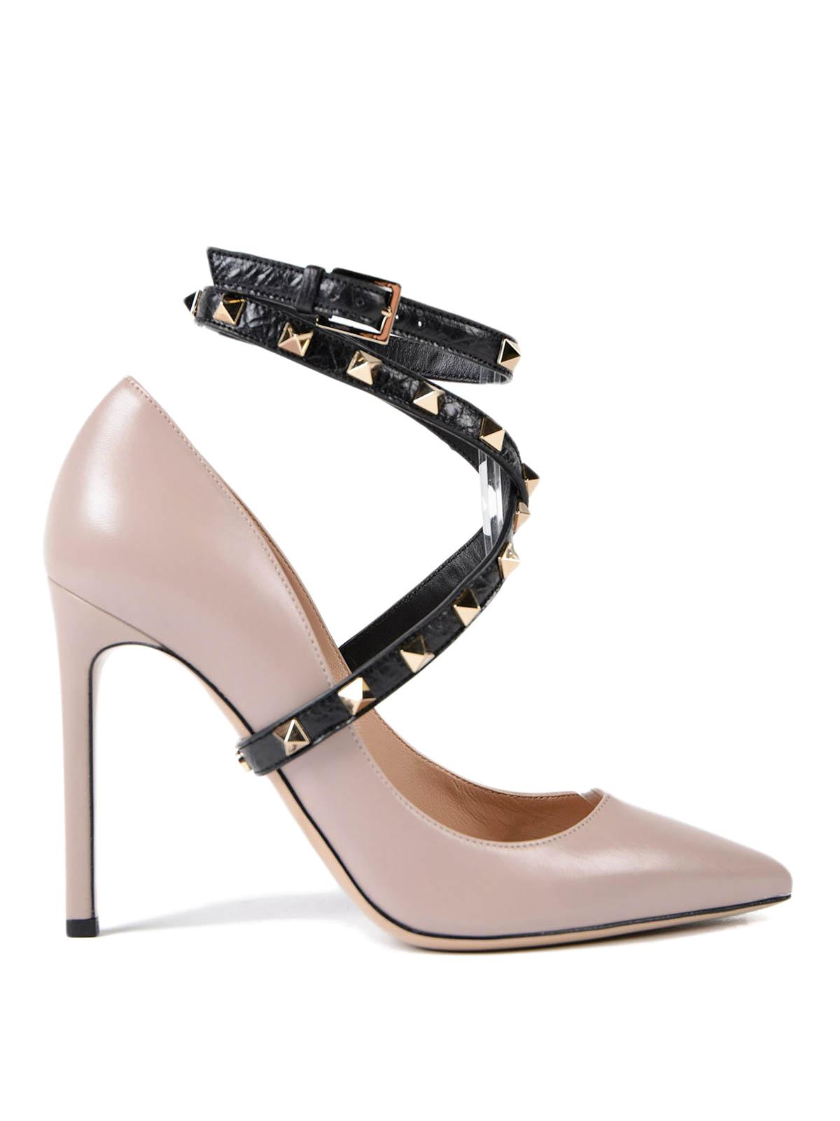 Rockstud ankle strap pumps