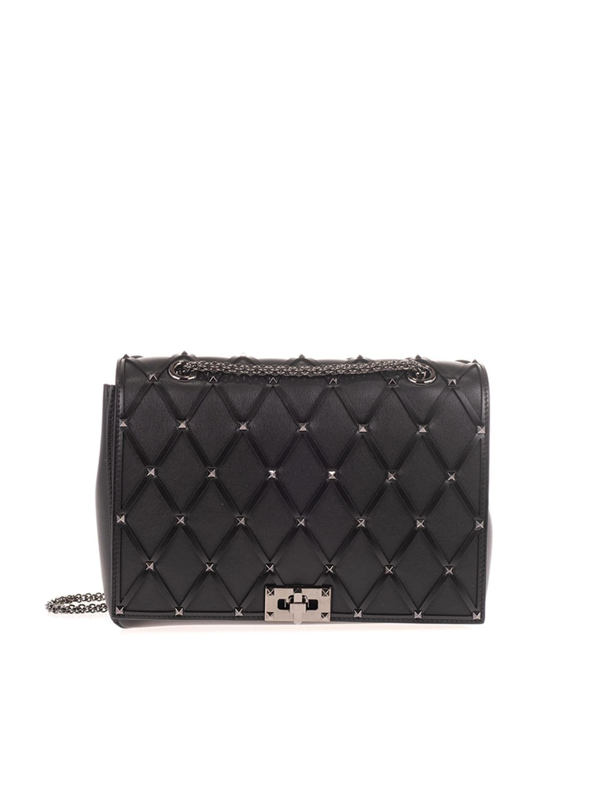 VALENTINO BEEHIVE CHAIN BAG IN BLACK