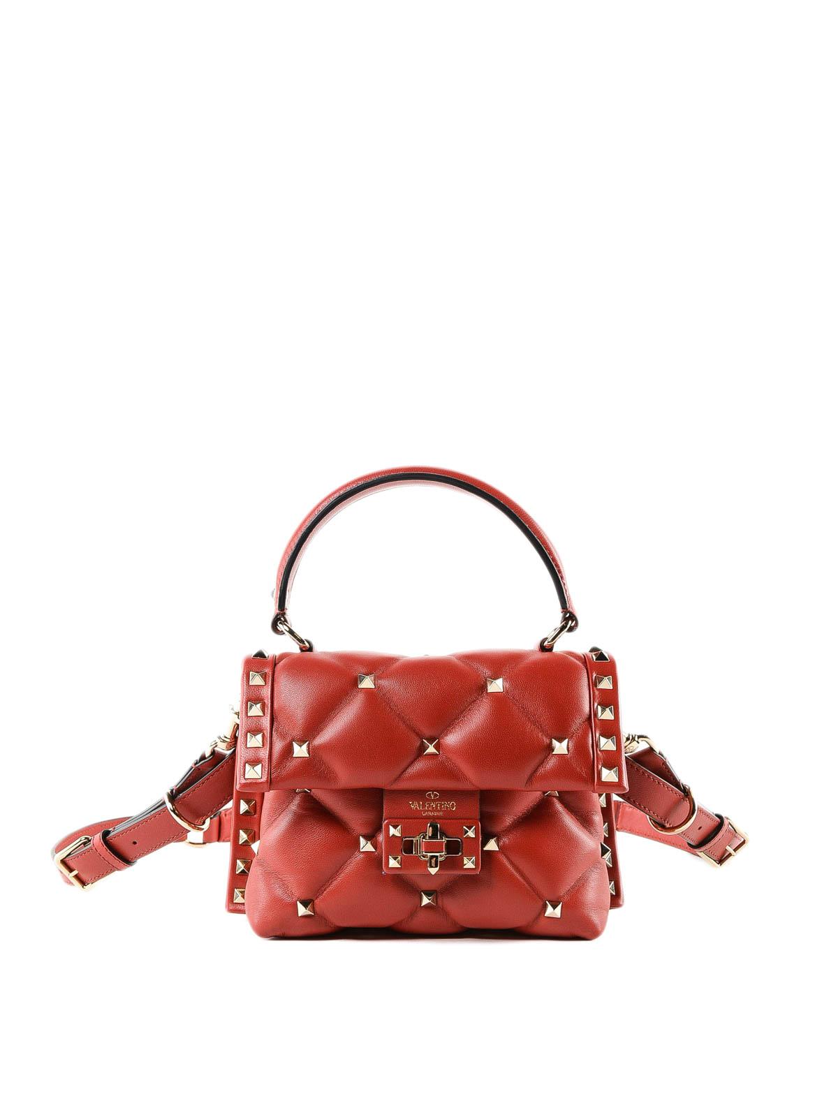 692a1e2d667f23 VALENTINO GARAVANI: borse a tracolla - Borsetta Candystud rossa in pelle  trapuntata
