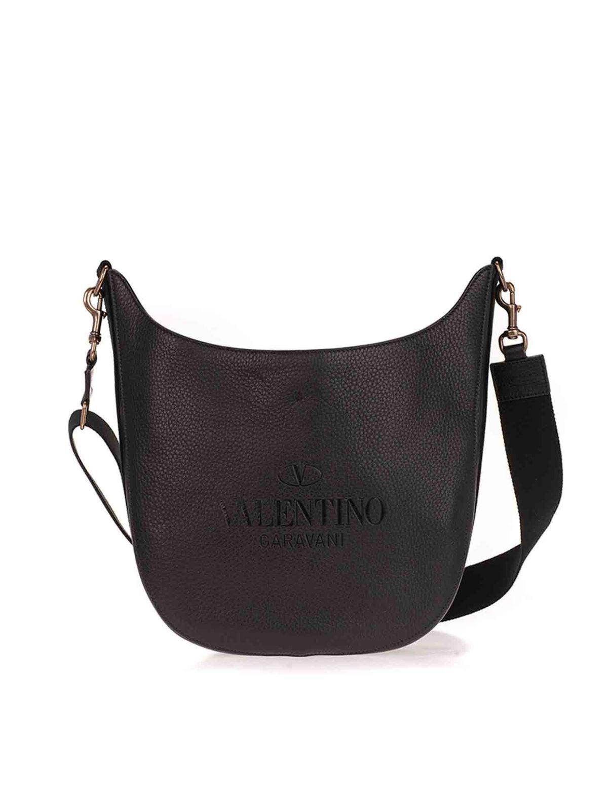 Valentino LOGO CROSS BODY BAG IN BLACK
