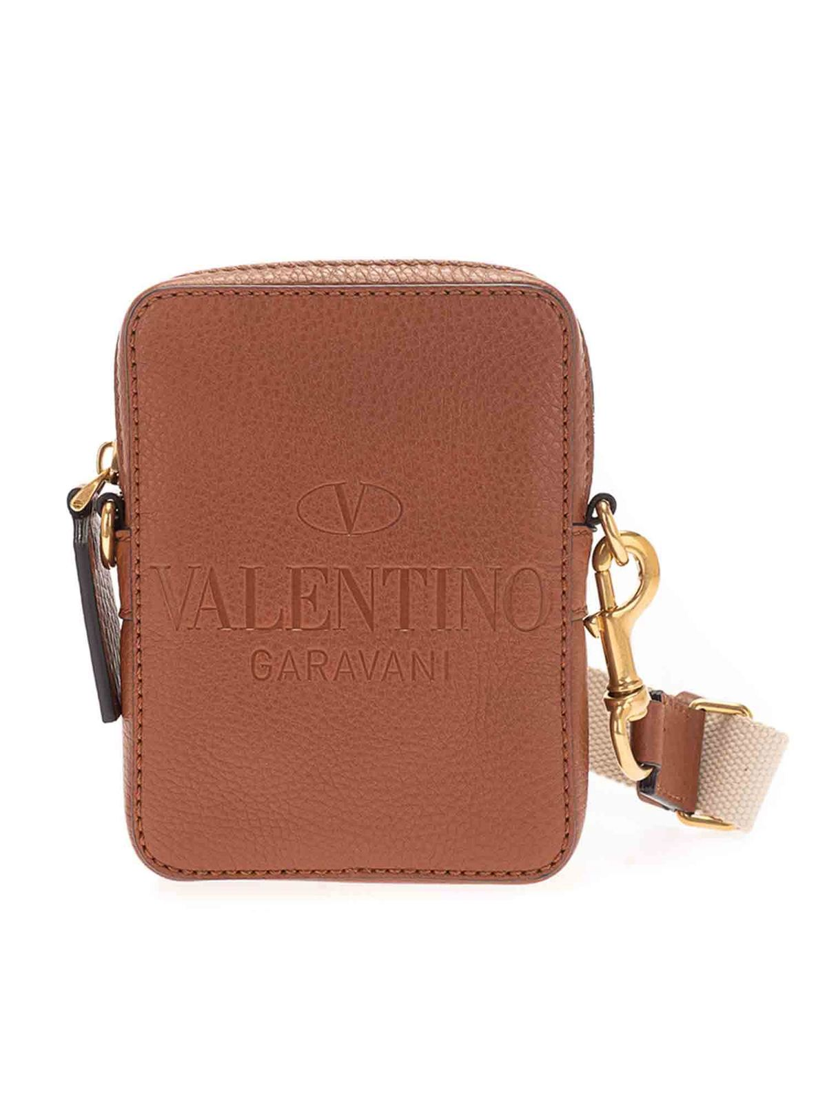 Valentino LOGO CROSS BODY BAG IN BROWN