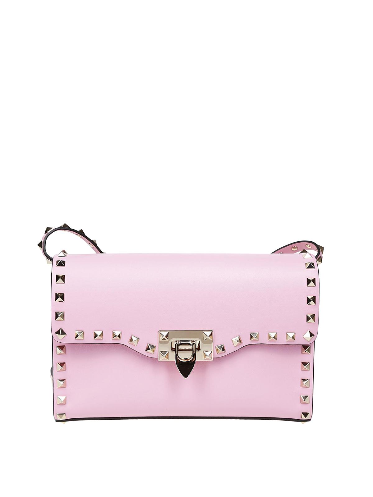 40868895fec8 VALENTINO GARAVANI  cross body bags - Rockstud pink smooth leather small bag
