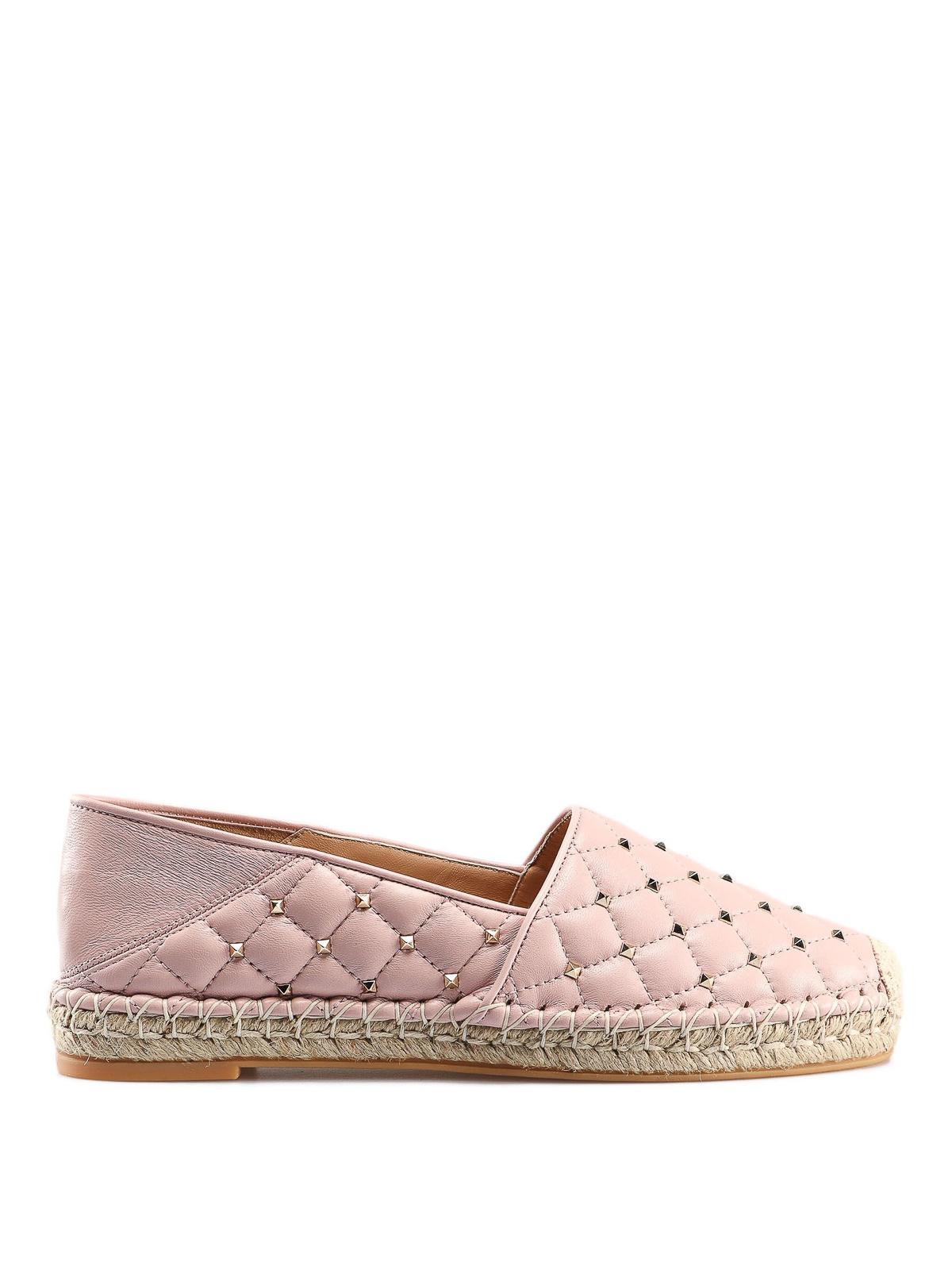 237cbe4be VALENTINO GARAVANI: espadrilles - Rockstud light pink leather espadrilles