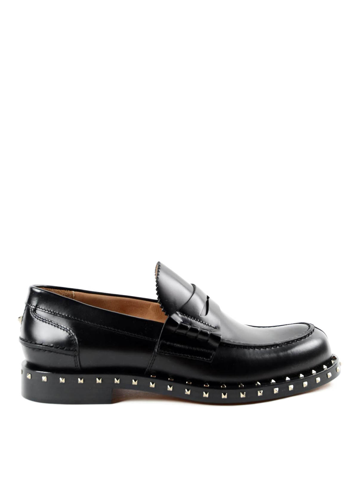 12b33f1e82a3c VALENTINO GARAVANI: Loafers & Slippers - Rockstud leather penny loafers