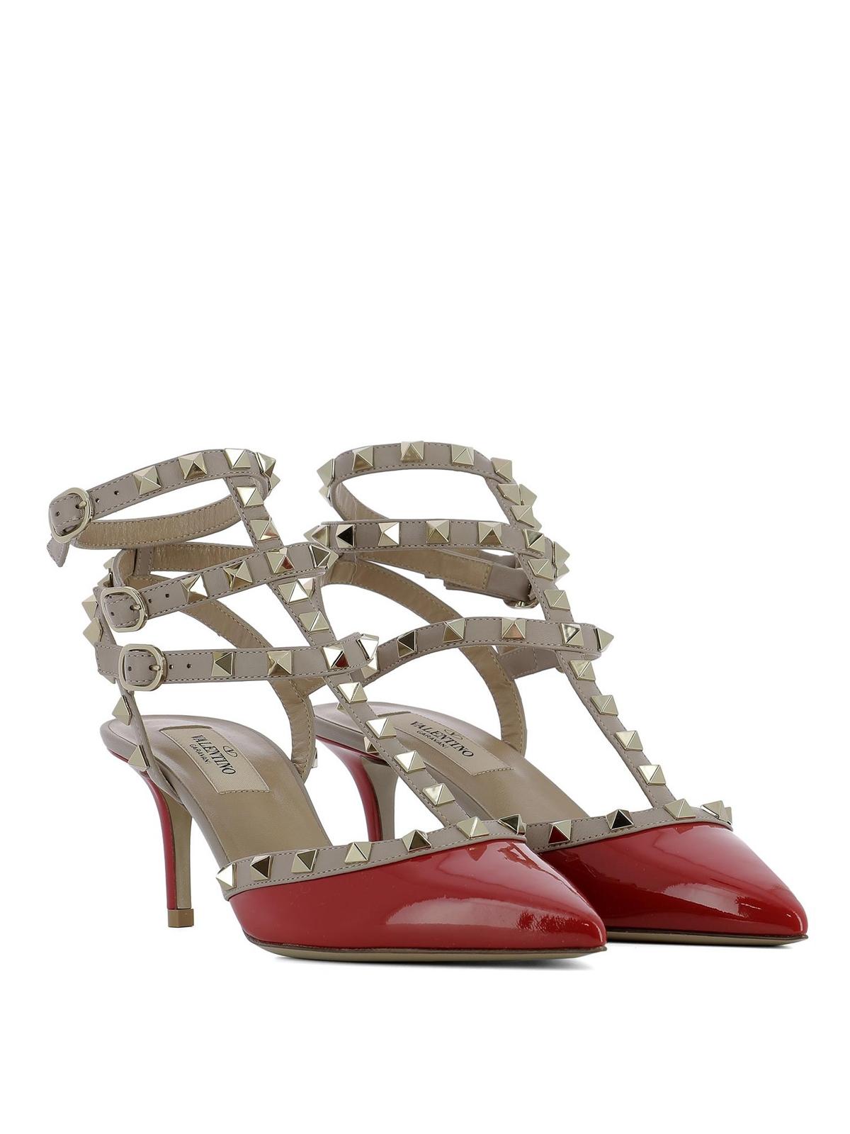 0998726200f VALENTINO GARAVANI  court shoes online - Rockstud red patent leather sandals