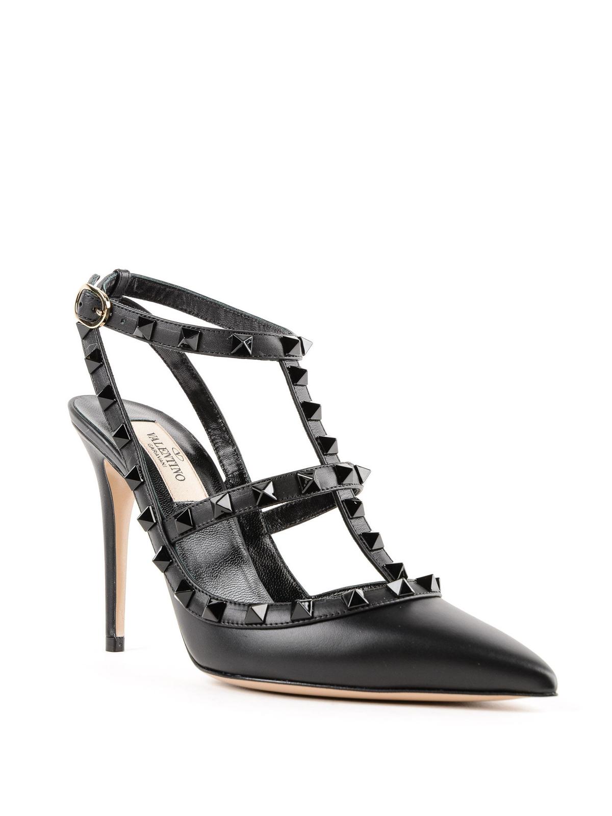 41706ba7e24 VALENTINO GARAVANI  court shoes online - Rockstud total black leather  slingbacks