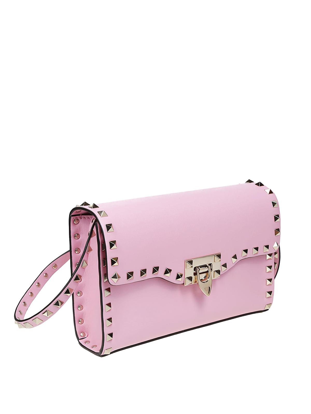 aab56980dec9 VALENTINO GARAVANI  cross body bags online - Rockstud pink smooth leather  small bag