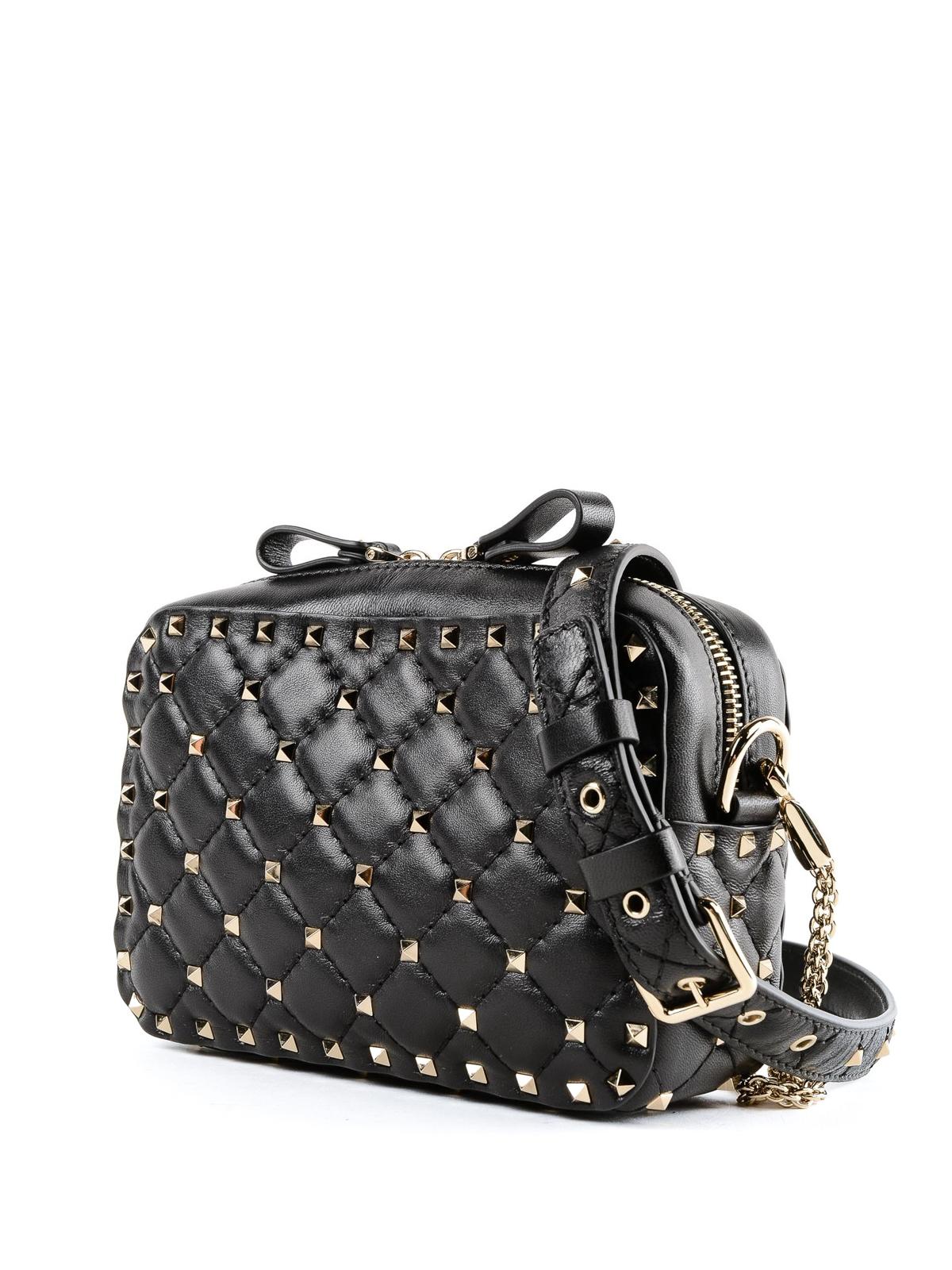 VALENTINO GARAVANI  borse a tracolla online - Tracollina Rockstud Spike  matelassé nera d3ea6c7b859