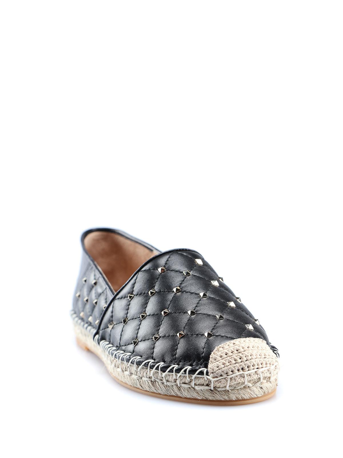 5de1c4bff0209 VALENTINO GARAVANI: espadrilles online - Rockstud black quilted leather  espadrilles