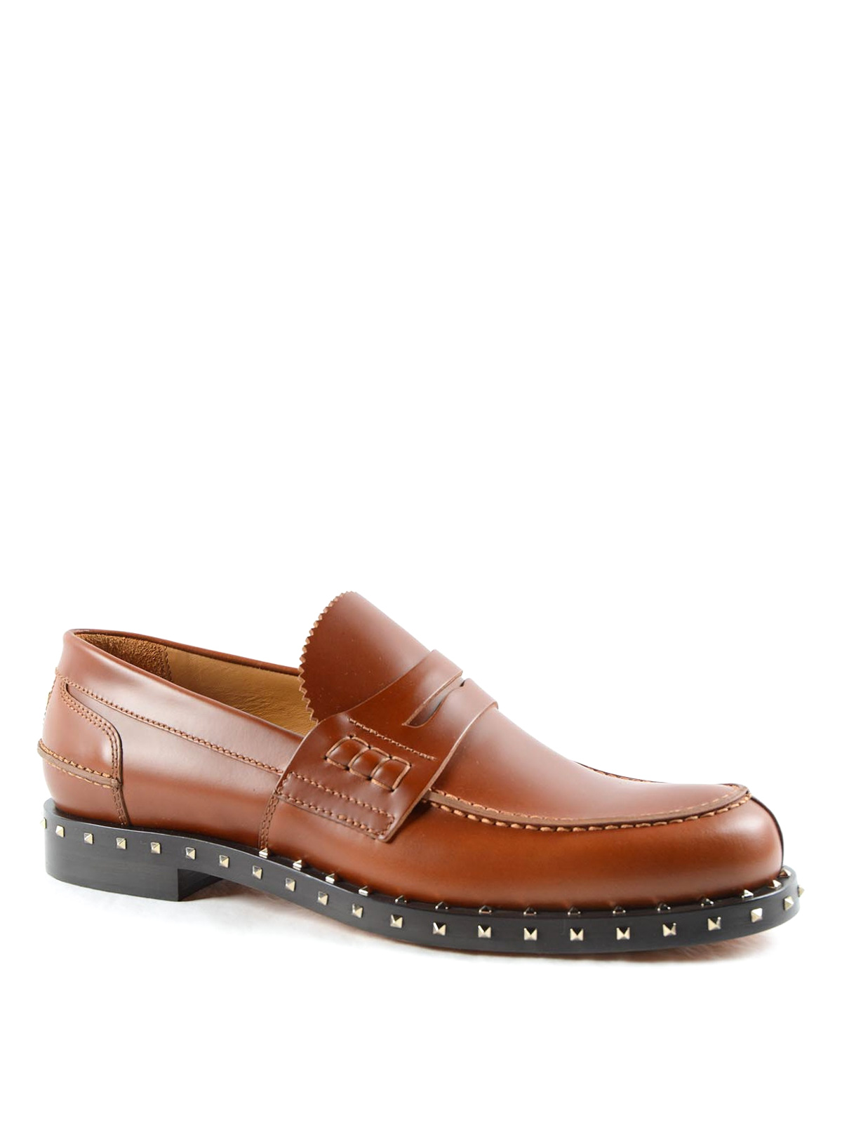 1d263a263cb9f VALENTINO GARAVANI: Loafers & Slippers online - Rockstud leather loafers
