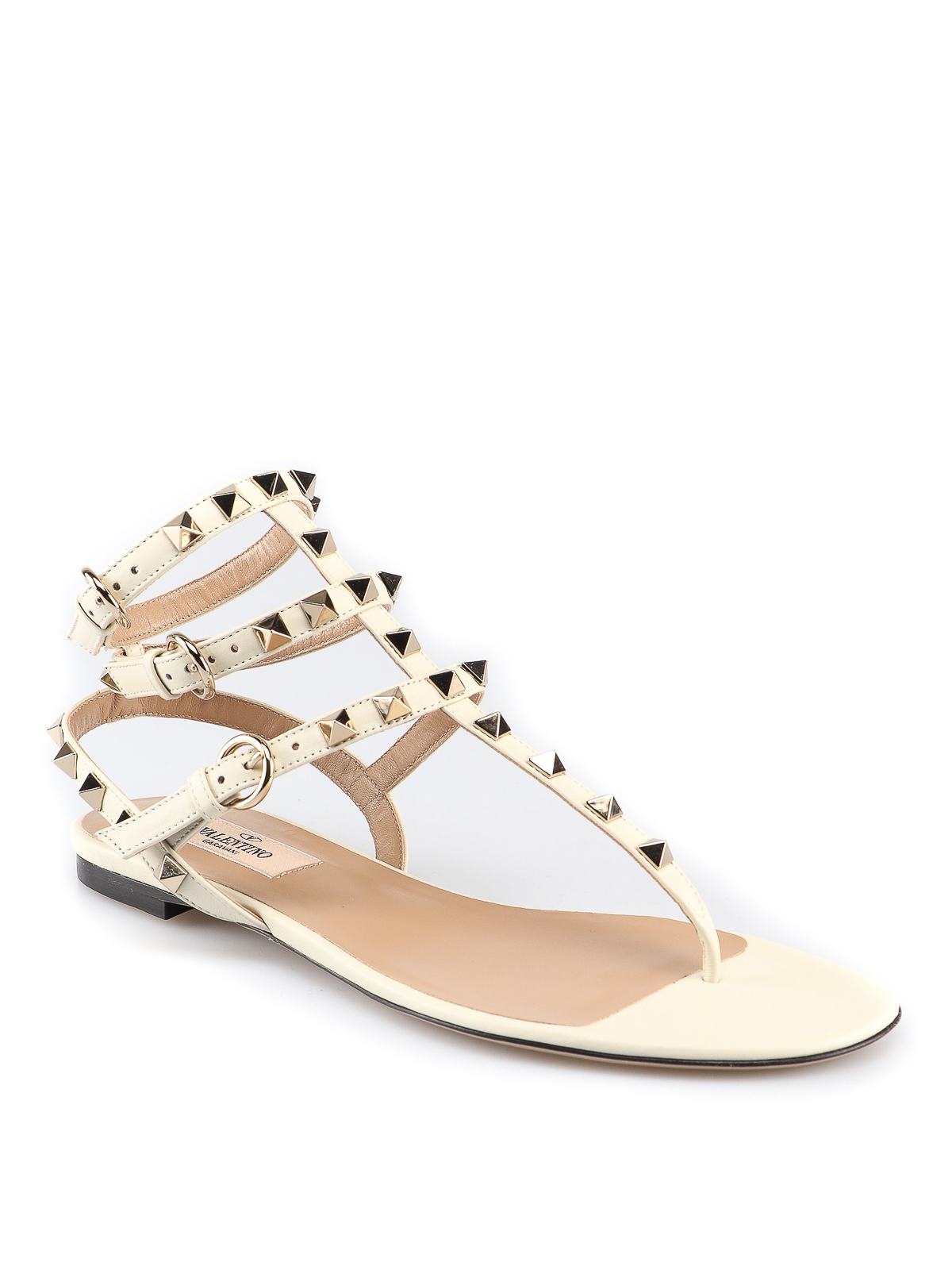 001f5b9ad VALENTINO GARAVANI  sandals online - Rockstud white leather thong sandals