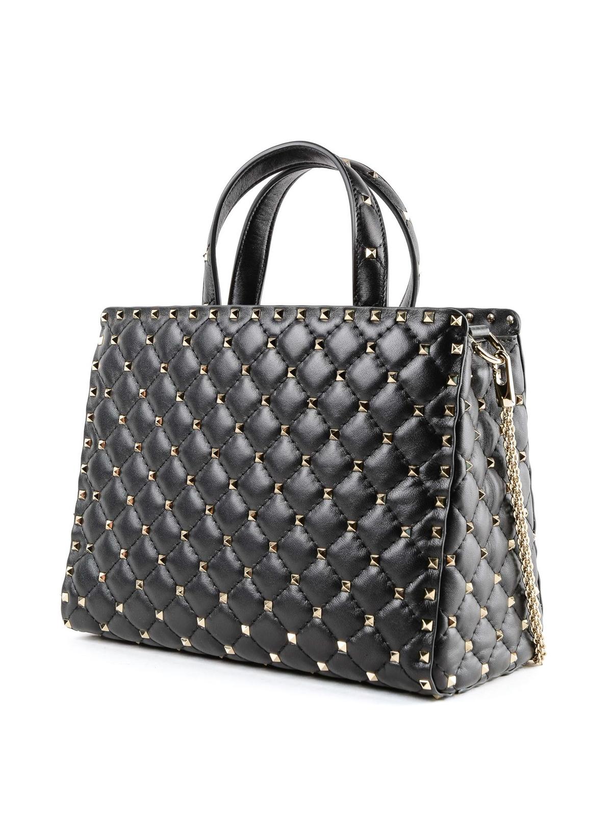 VALENTINO GARAVANI  shopper online - Borsa nera in pelle matelassé Rockstud  Spike 79628e9ba8e
