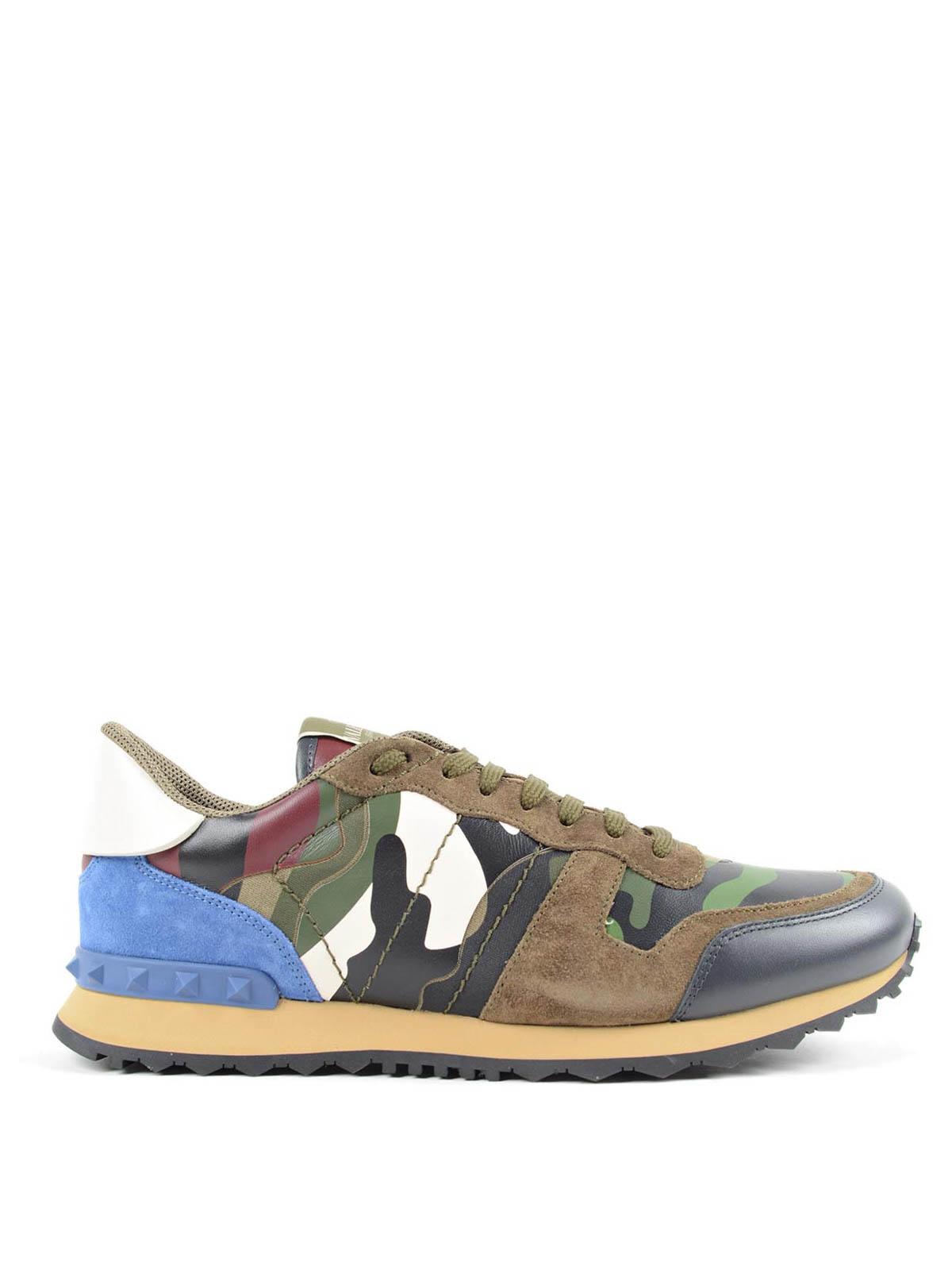 Valentino Camouflage Chaussures Rockrunner De Sneakers Garavani zrxYvqz