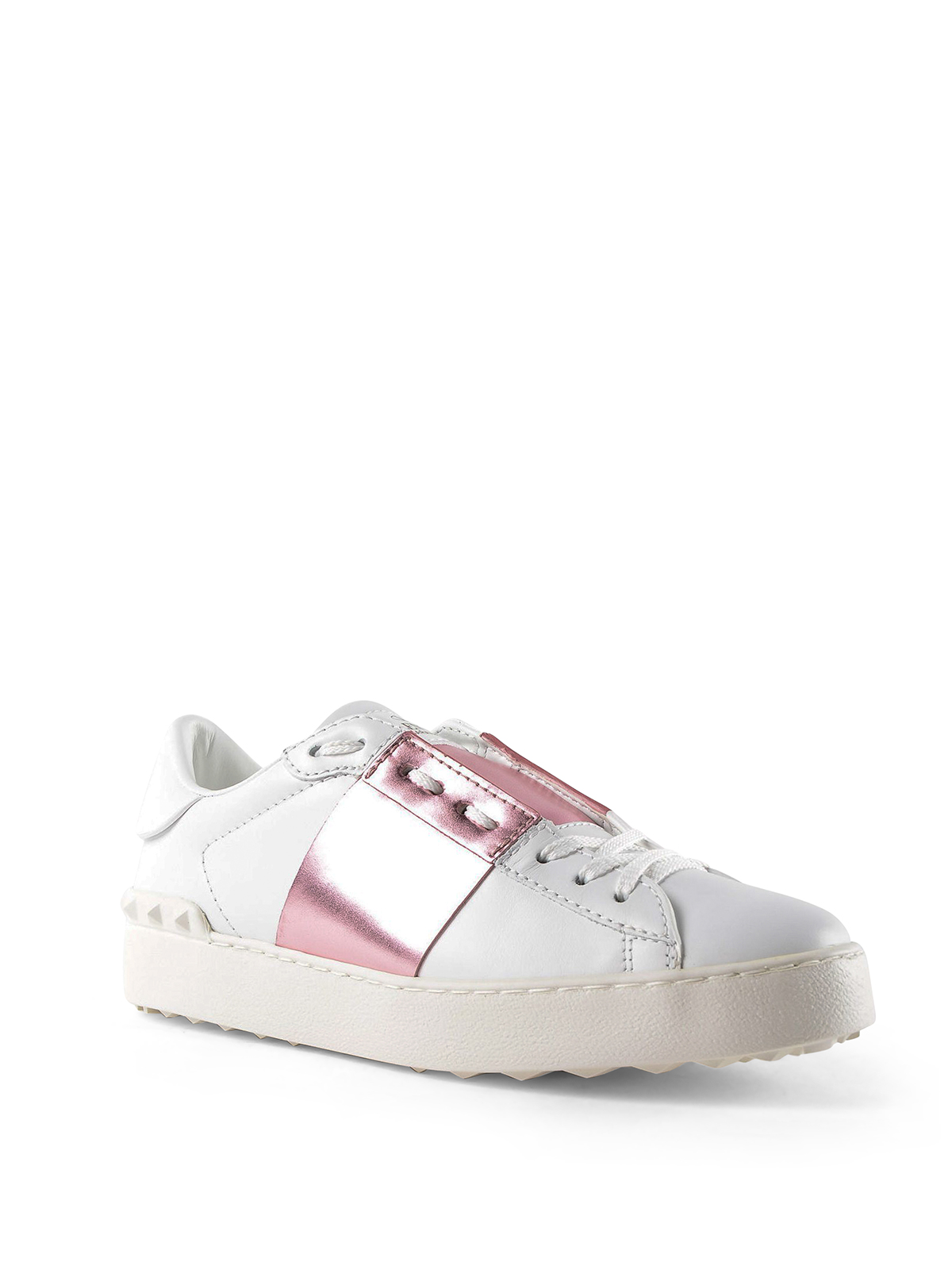 Open white sneakers with pink metallic