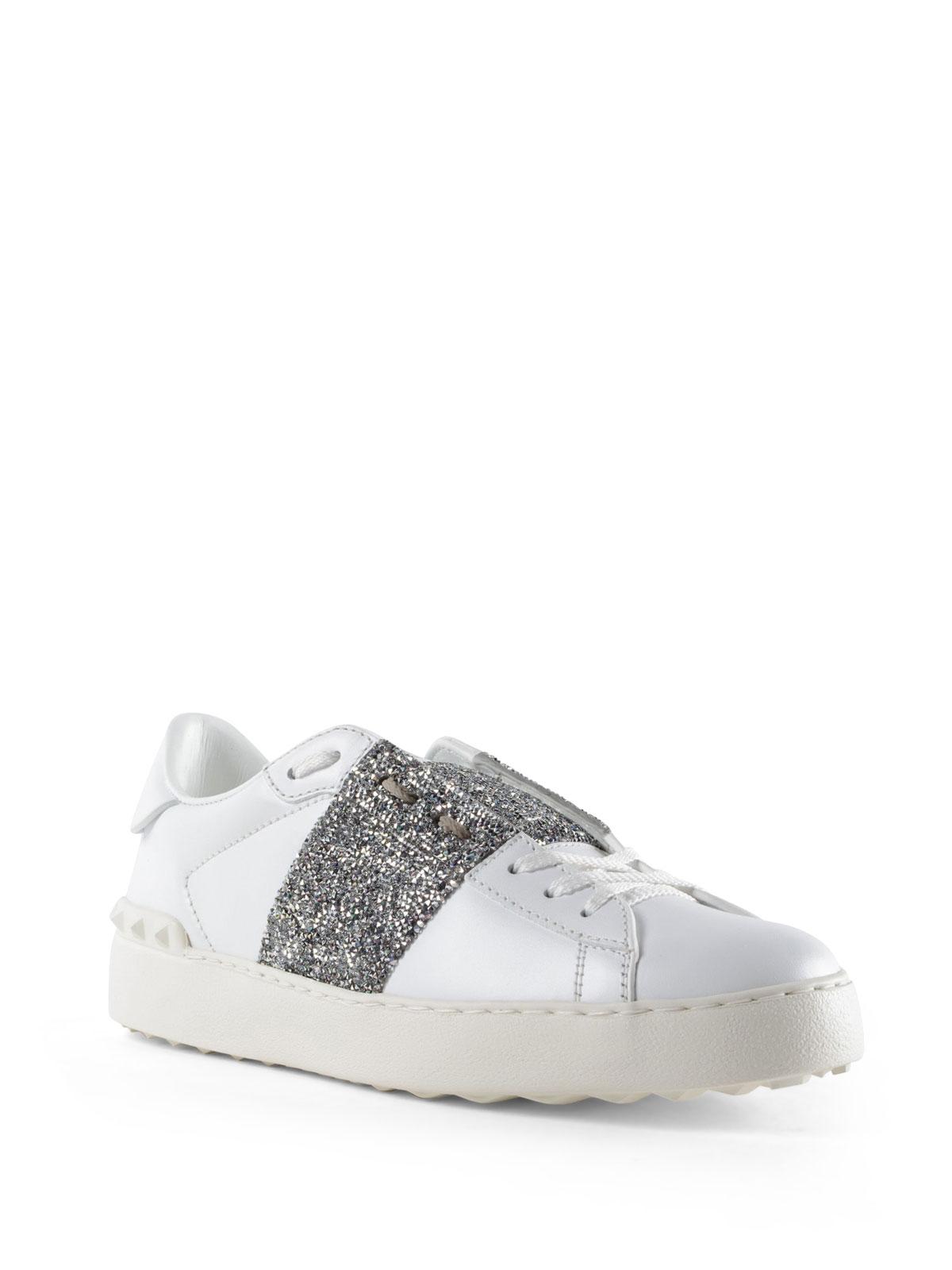 VALENTINO GARAVANI  sneakers online - Sneaker Open con banda glitter argento 9ebdeb126a6