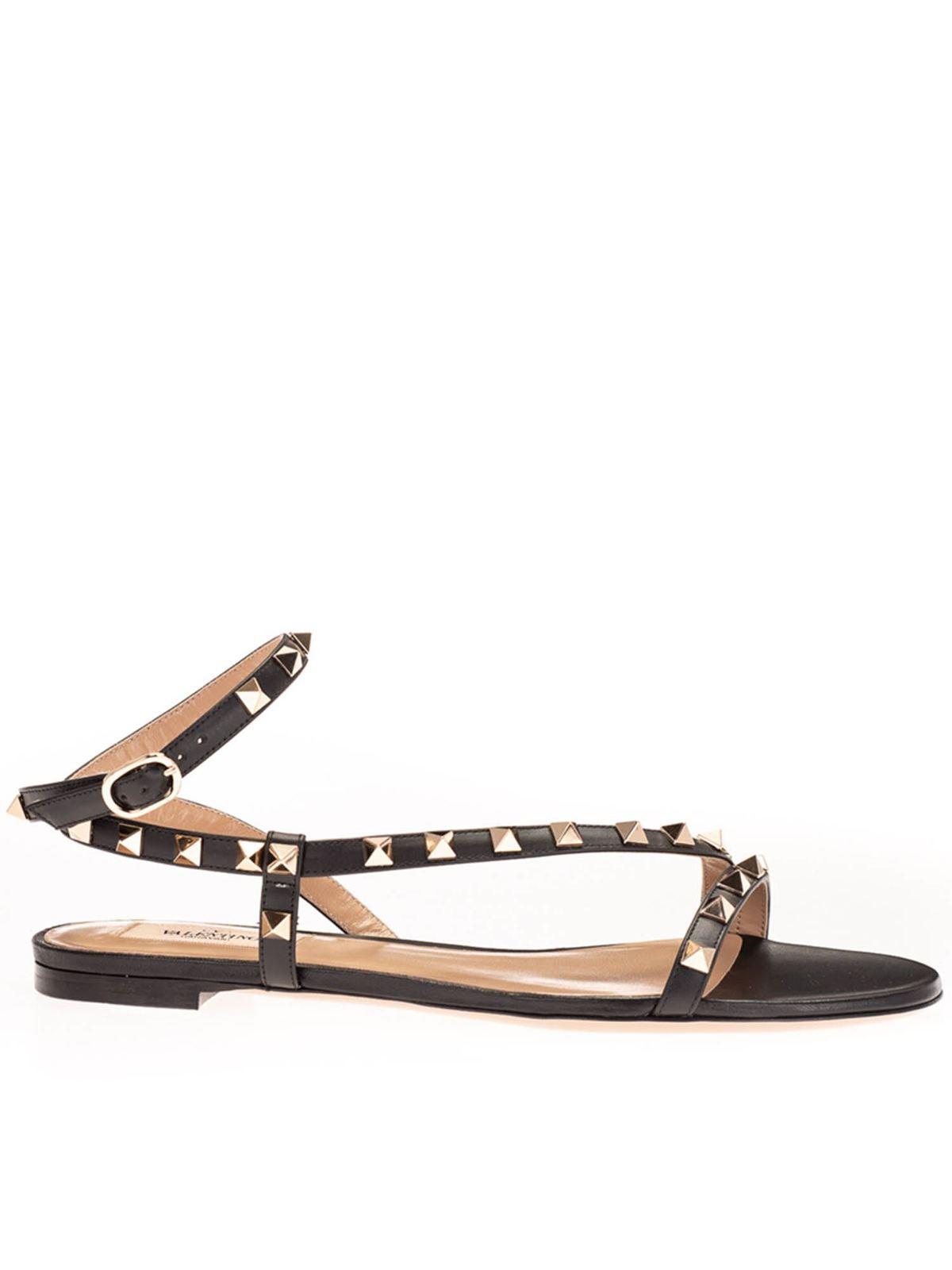 Valentino Sandals ROCKSTUD FLAT SANDALS IN BLACK