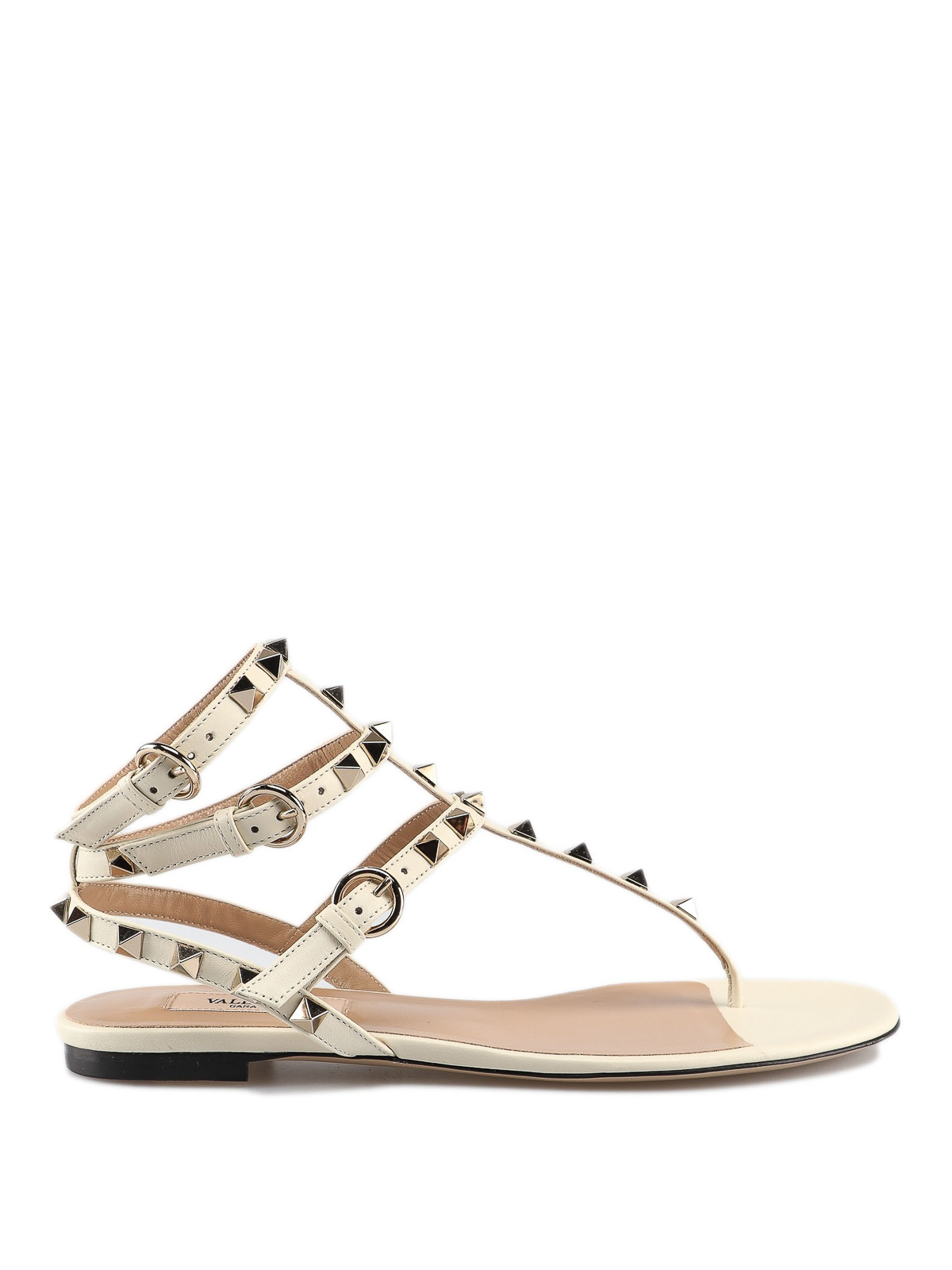 abb6bac24 Valentino Garavani - Rockstud white leather thong sandals - صندل ...