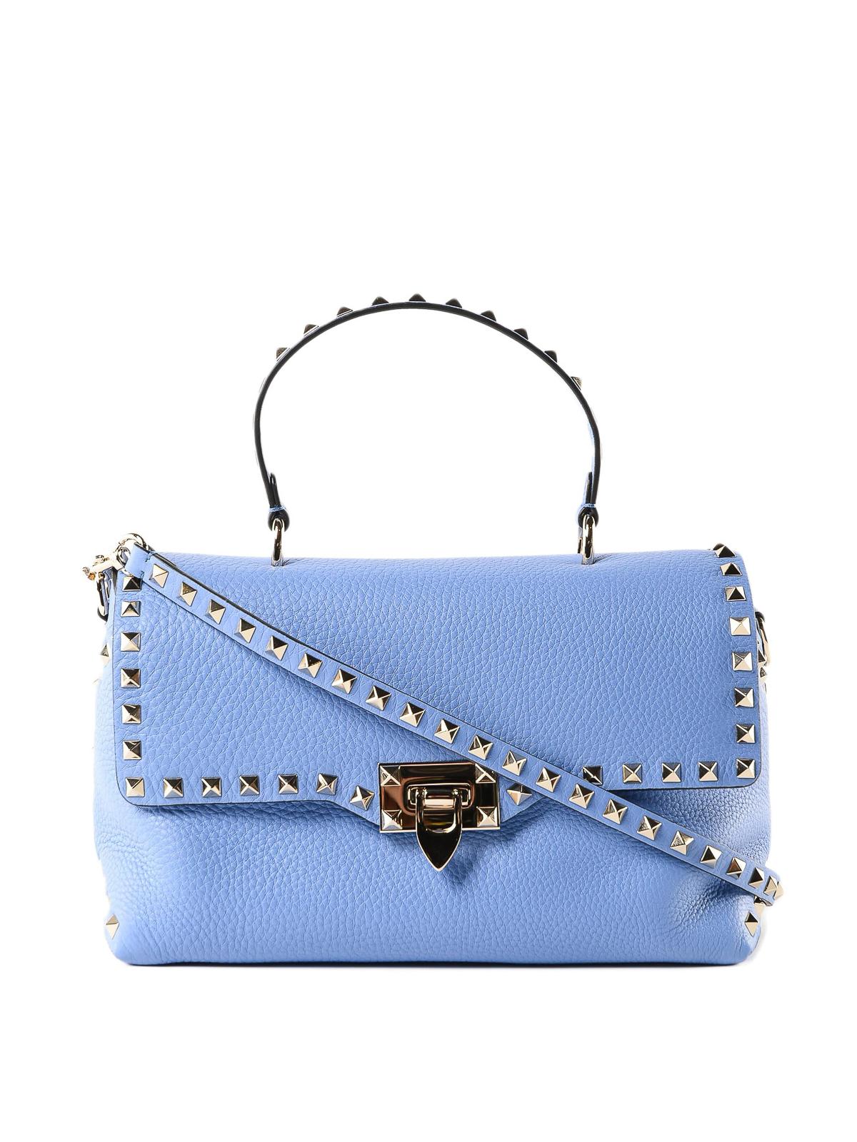 Valentino Garavani - Rockstud sky blue leather tote bag - totes bags ... 47a4950e25