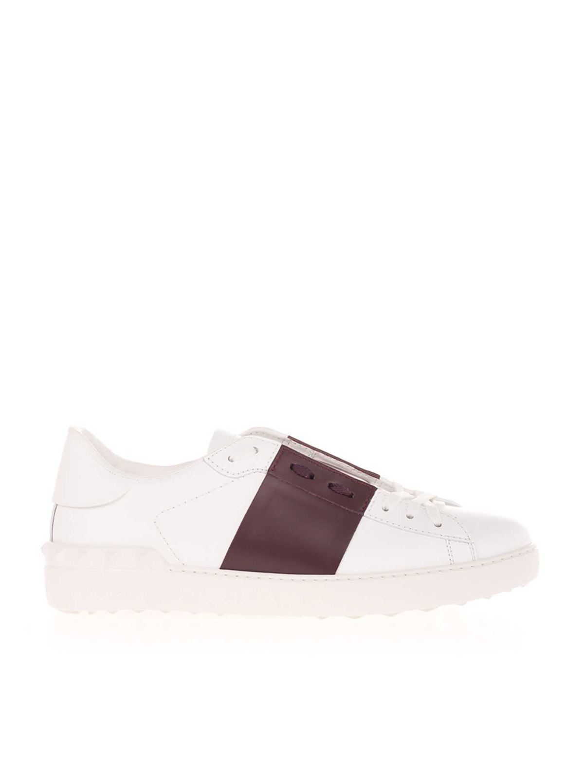 Valentino Leathers OPEN SNEAKERS IN WHITE AND BURGUNDY