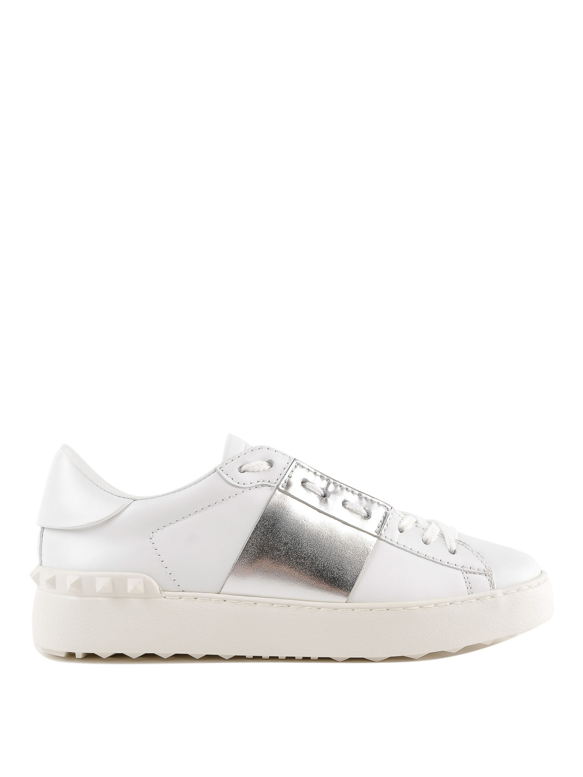 Open white sneakers with silver-tone