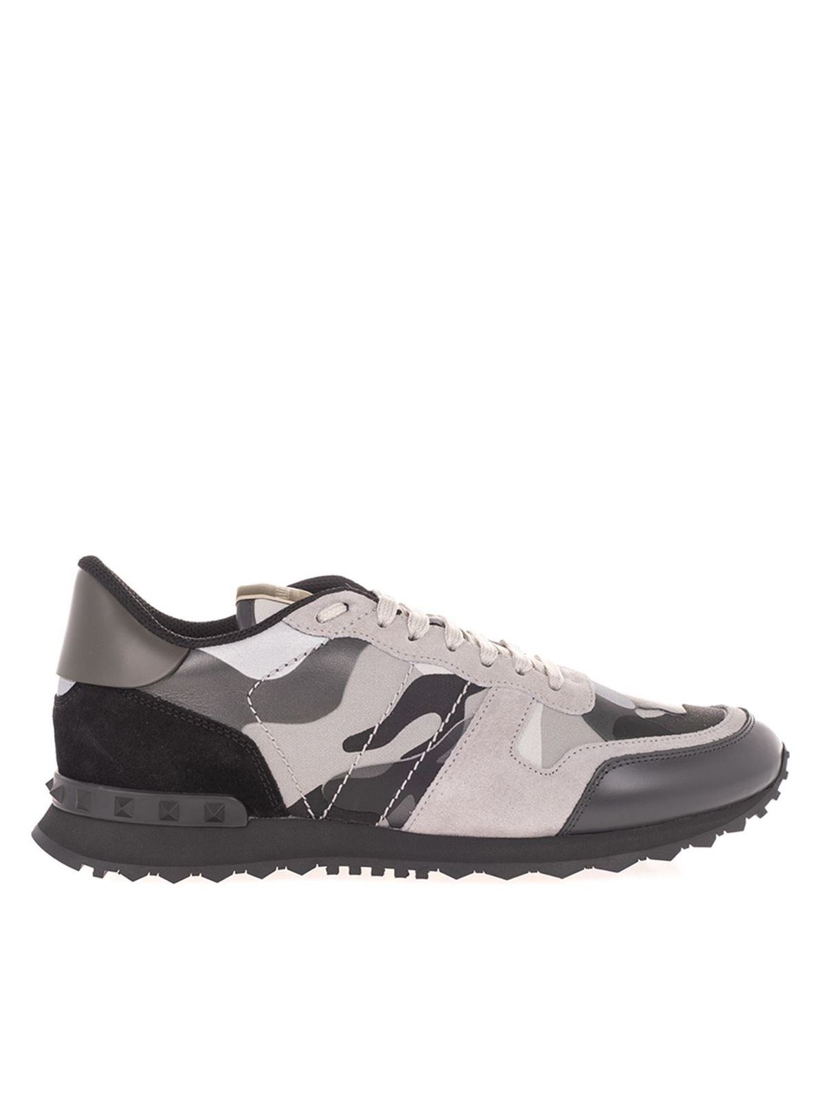 Valentino Suedes ROCKRUNNER CAMOUFLAGE SNEAKERS IN GREY