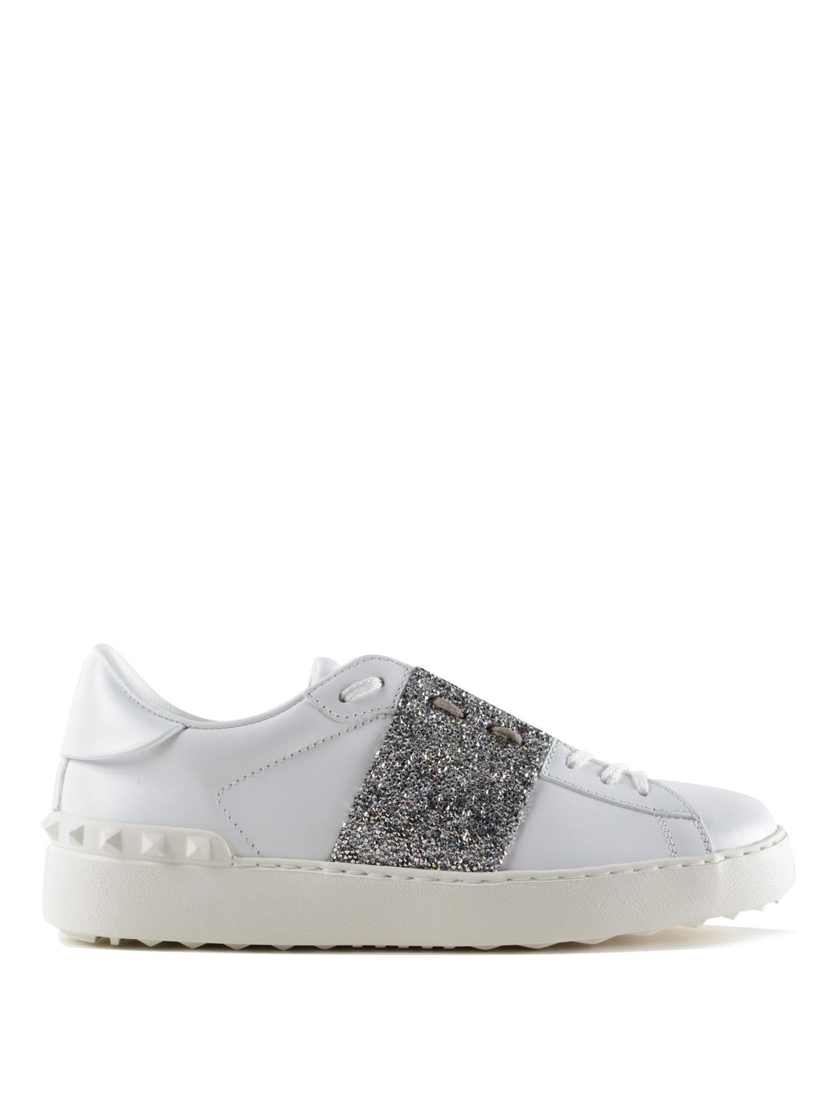 VALENTINO GARAVANI  sneakers - Sneaker Open con banda glitter argento 4cf8954bfe8