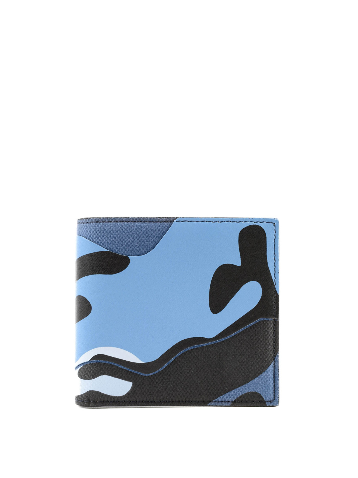 5d922453a8 VALENTINO GARAVANI: wallets & purses - Camouflage sky blue bi-fold wallet