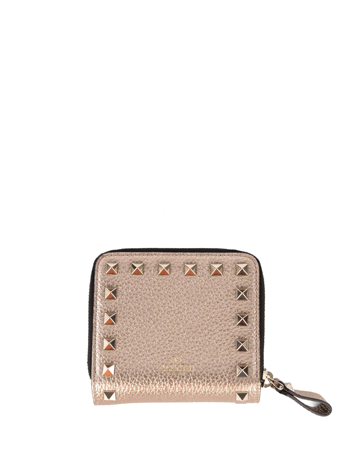 Valentino Garavani - Rockstud laminated leather wallet - wallets & purses - LW2P0649VUE S69