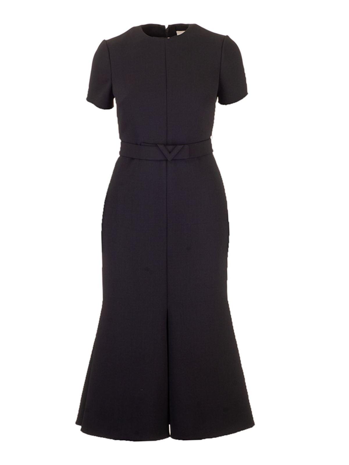 Valentino DOUBLE TECHNO WOOL DRESS IN BLACK