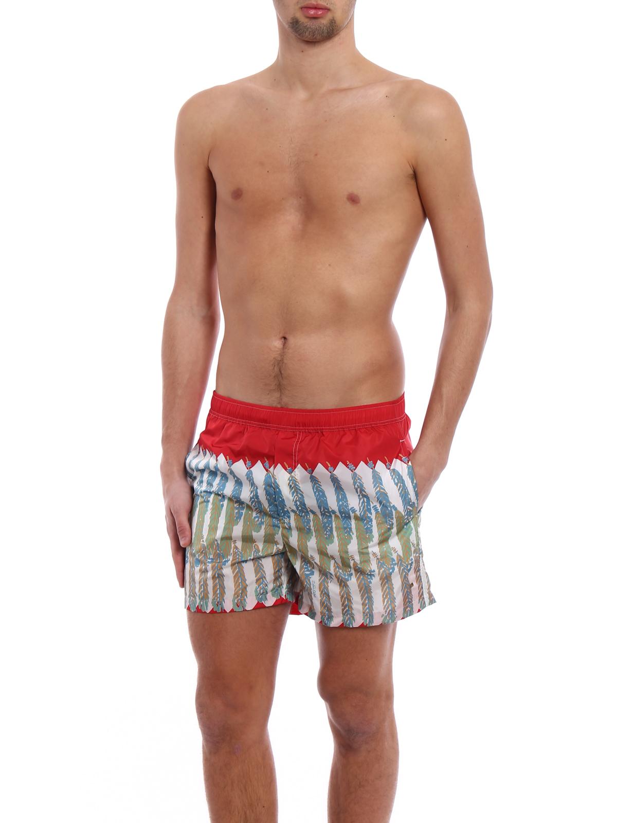 6a9feb3d3b VALENTINO: Swim shorts & swimming trunks online - Feather print red swim  shorts