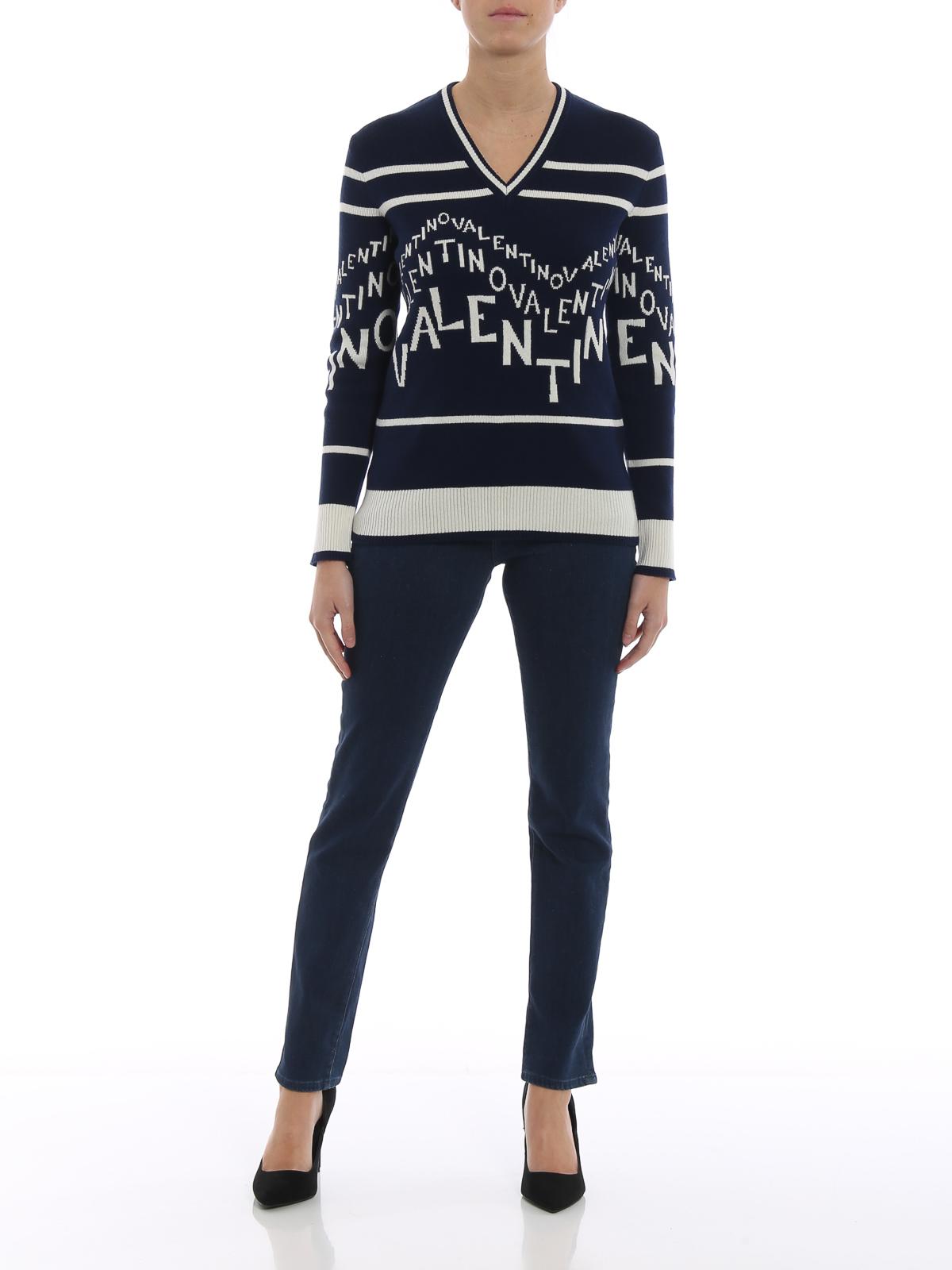 28497171d1e7a7 VALENTINO: v necks online - Valentino Chevron cashmere blend sweater