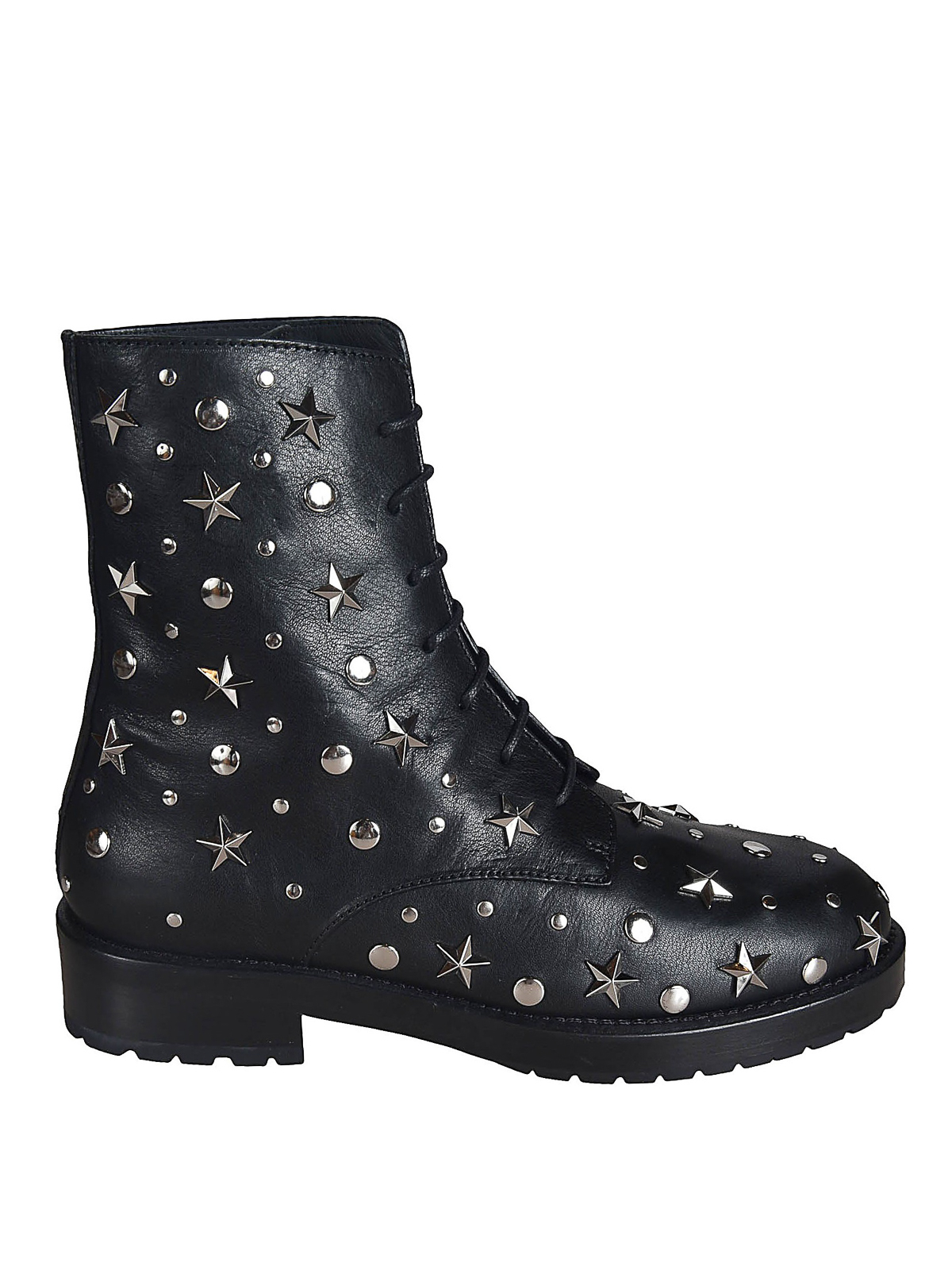 Red Valentino COMBAT BOOTS WITH STAR STUDS
