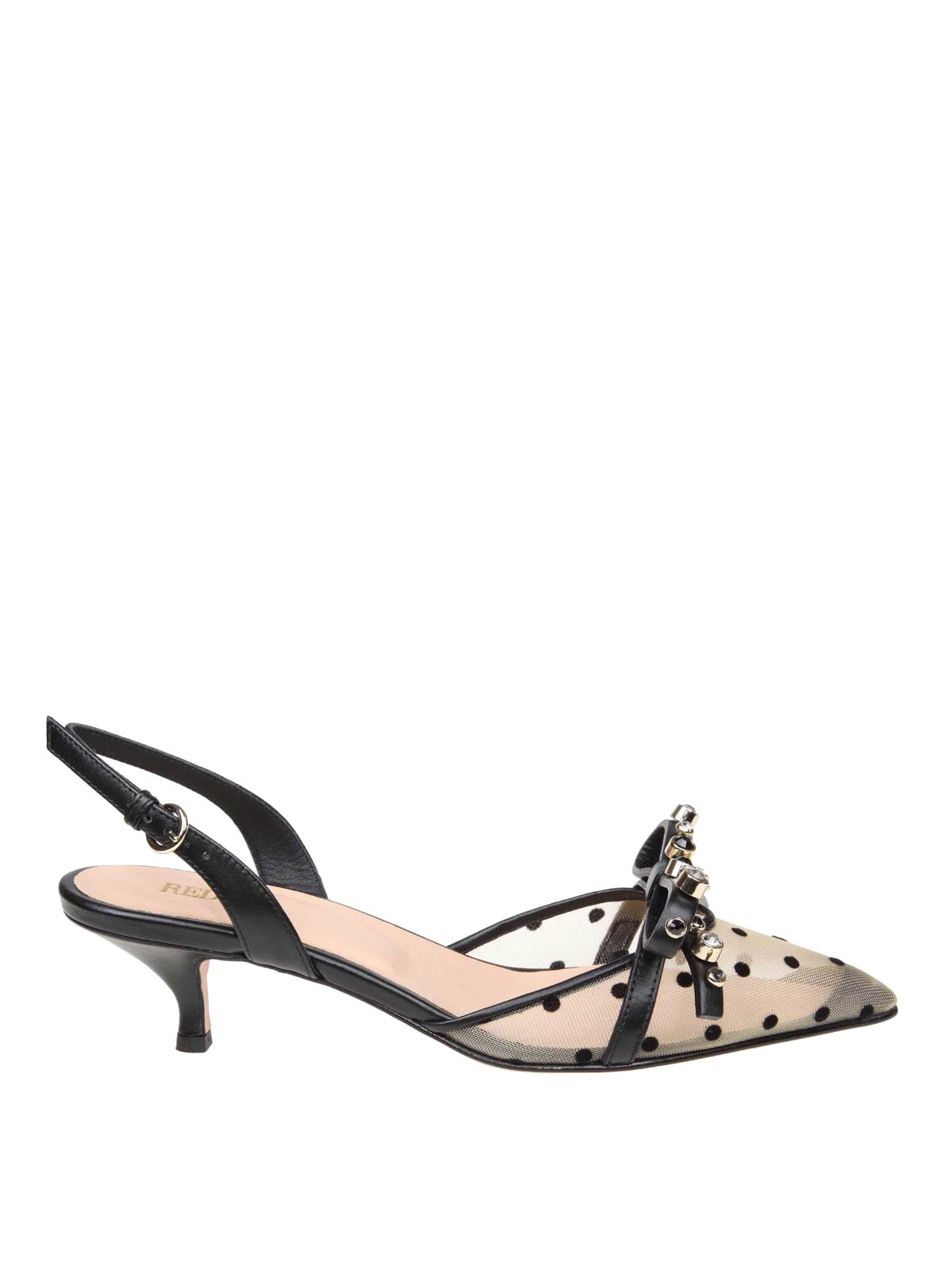 fb579f52db4 VALENTINO RED  court shoes - Nude and black polka dot leather slingbacks