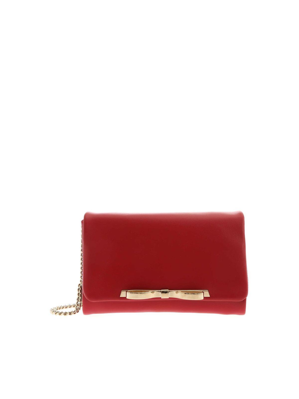 Red Valentino GOLDEN BOW SHOULDER BAG IN RED
