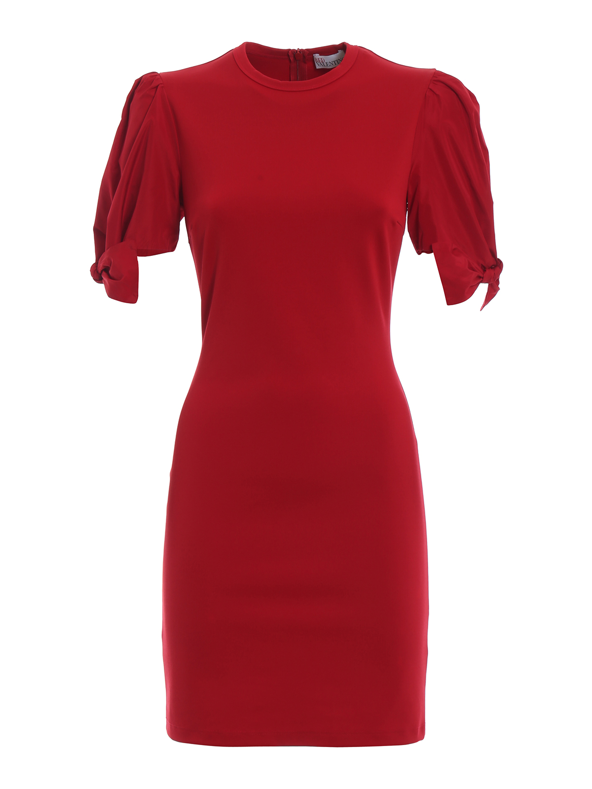 red shift dress with satin puff sleeves by valentino red
