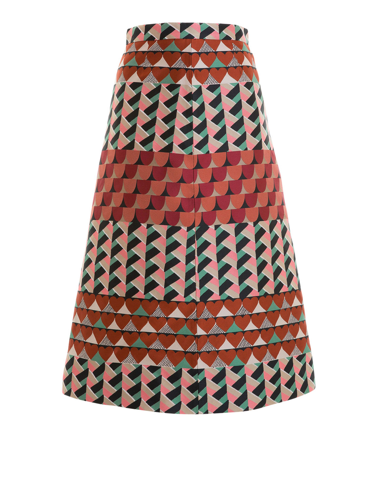 geometric patterned a line skirt by valentino knee